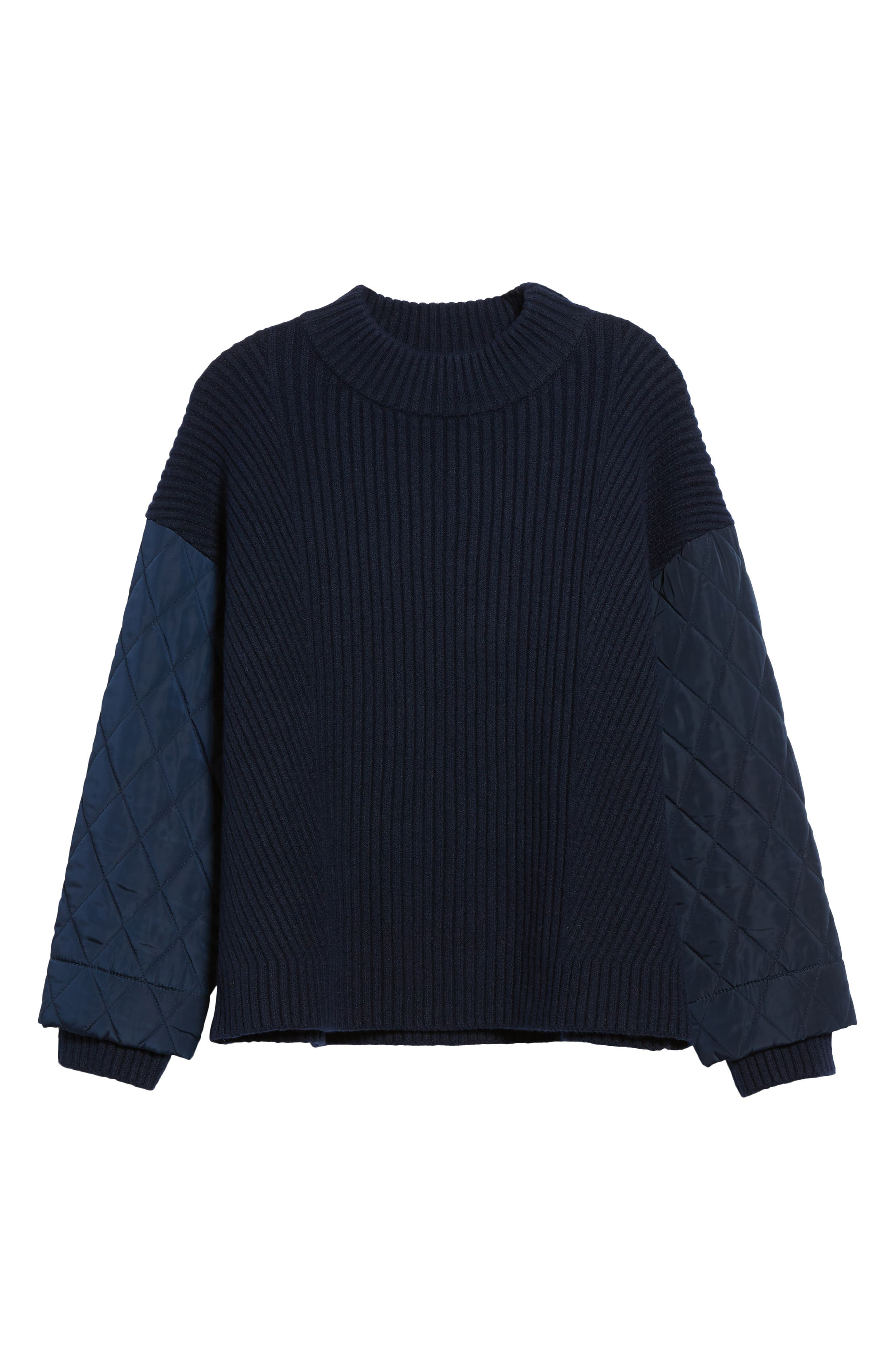Quilted Sleeve Sweater,                             Alternate thumbnail 6, color,                             INDIGO