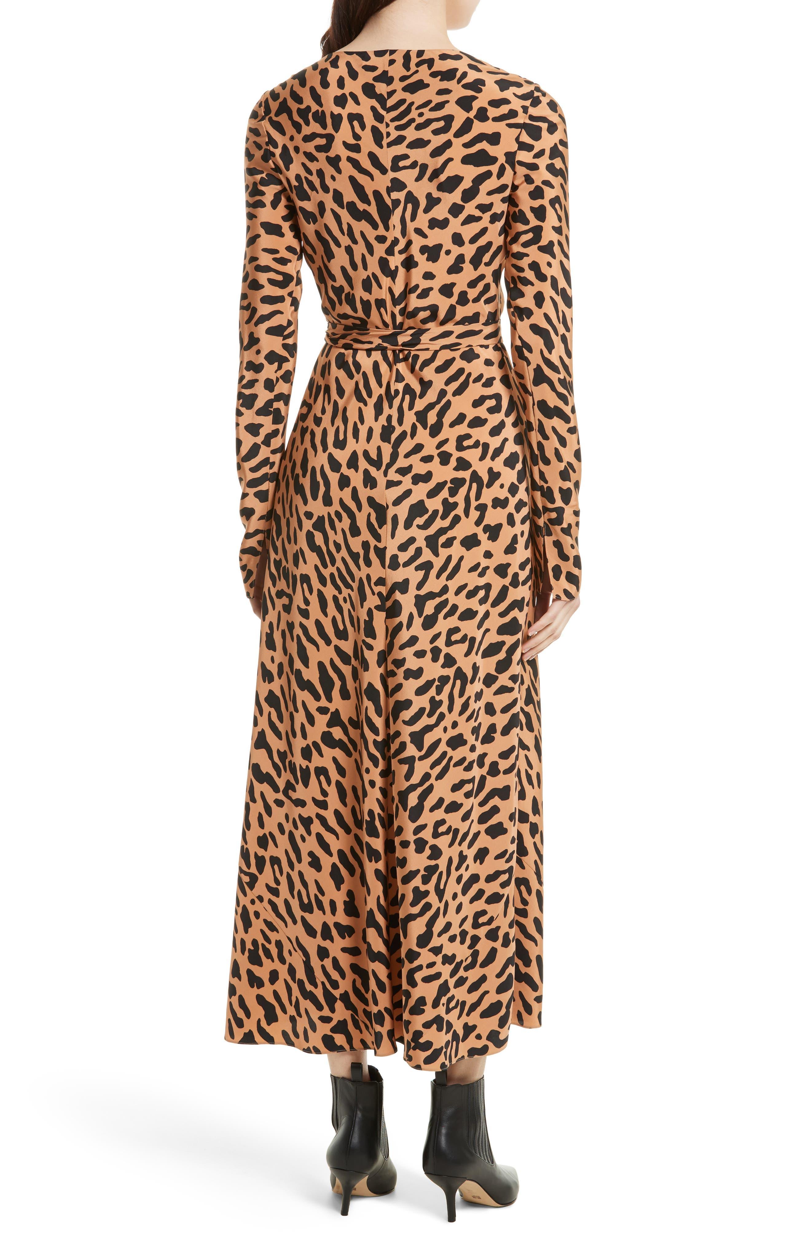 Midi Print Silk Wrap Dress,                             Alternate thumbnail 2, color,                             202