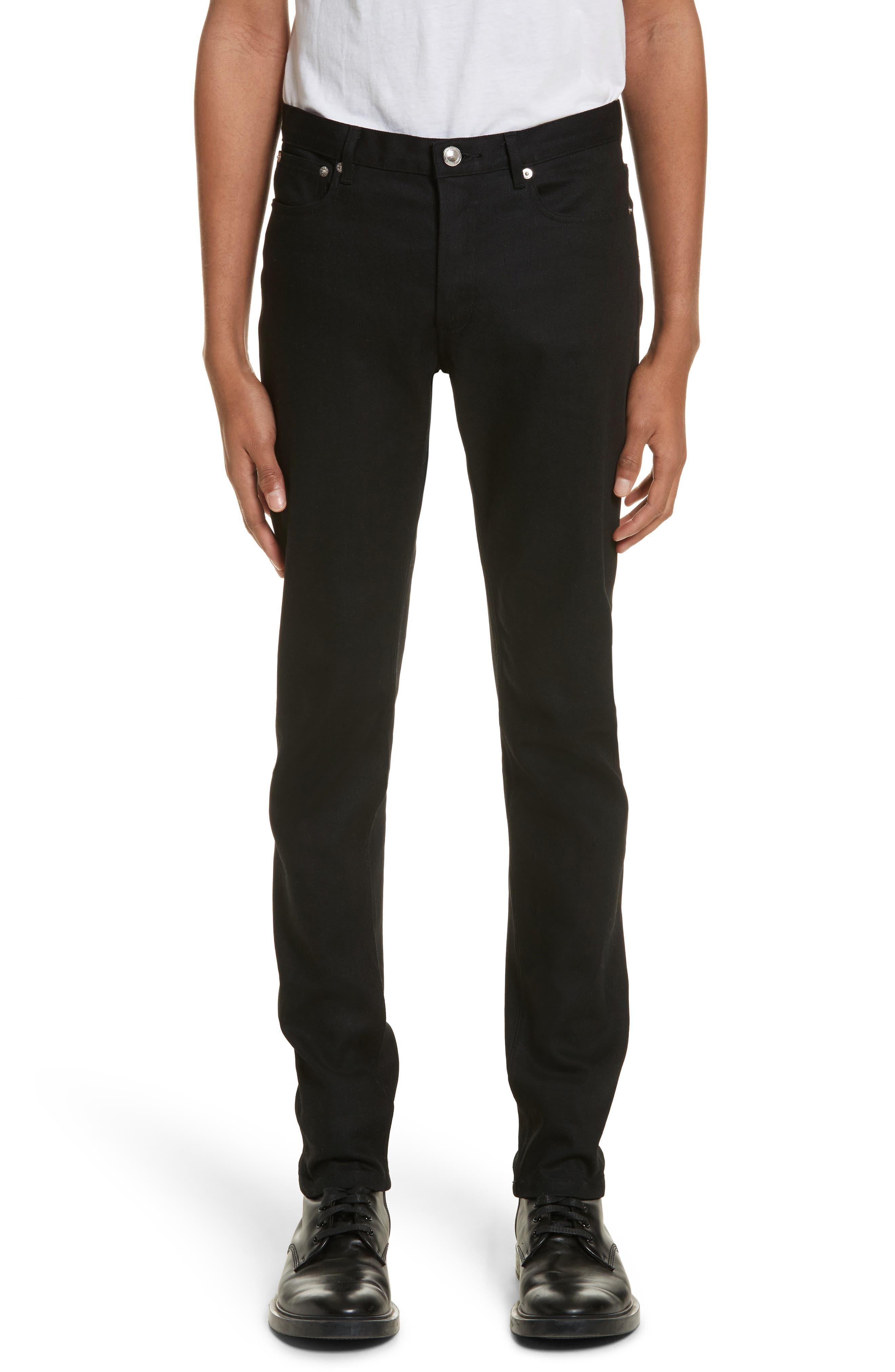 Petit New Standard Stretch Skinny Fit Jeans,                             Main thumbnail 1, color,                             BLACK