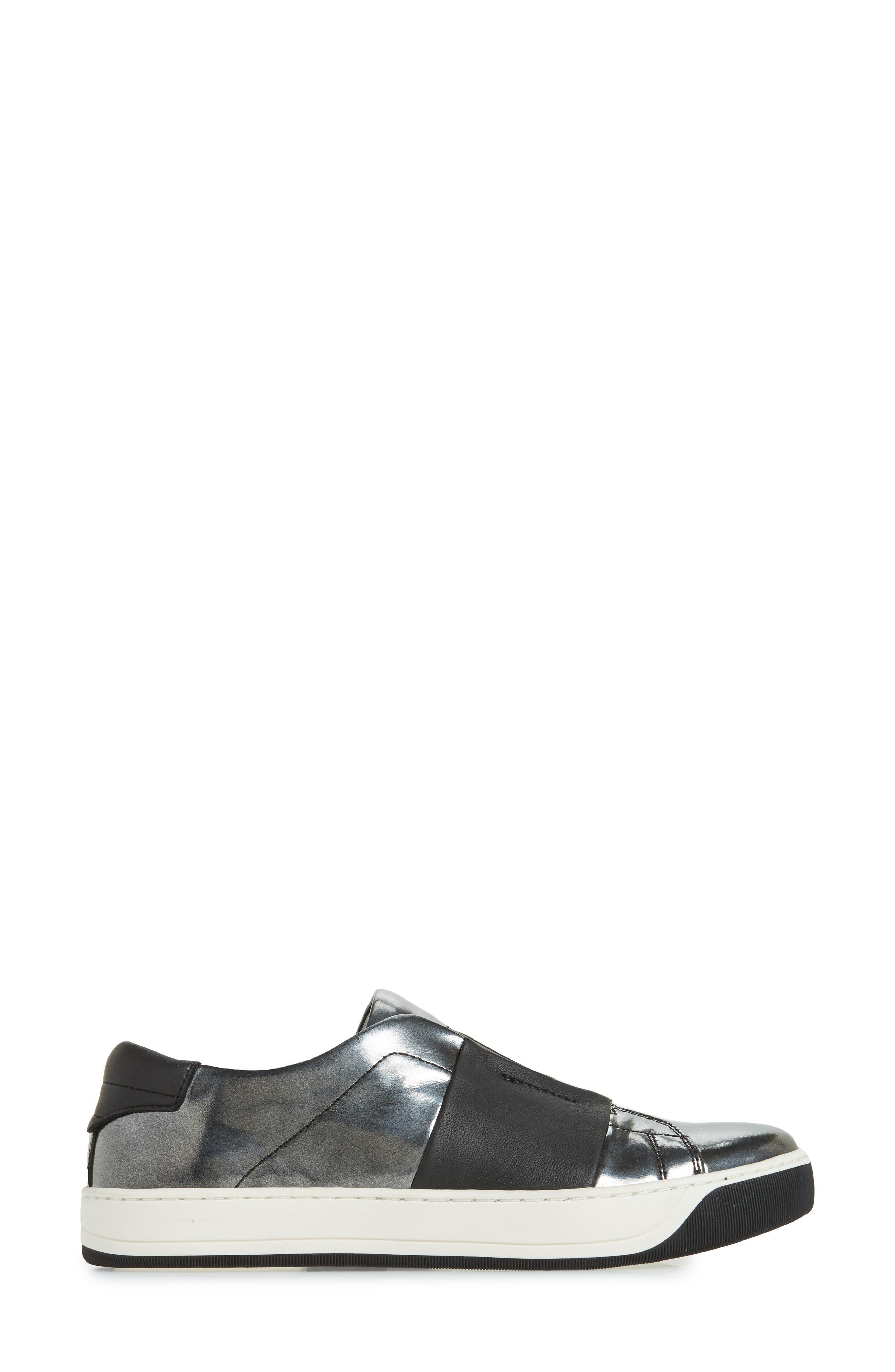 JOHNSTON & MURPHY,                             Eden Slip-On Sneaker,                             Alternate thumbnail 3, color,                             GRAPHITE LEATHER