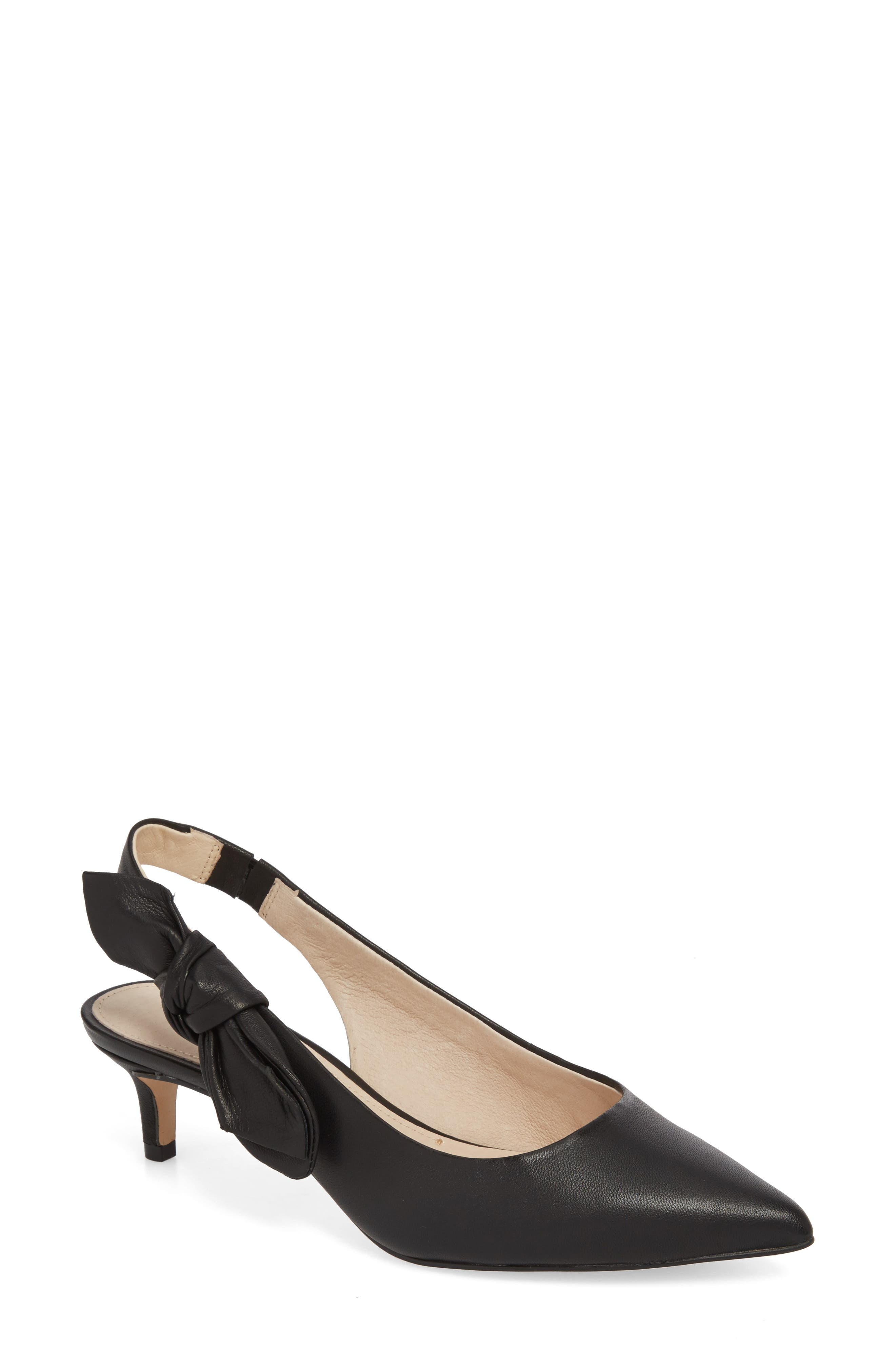 Jasilen Slingback Pump,                             Main thumbnail 1, color,                             BLACK LEATHER