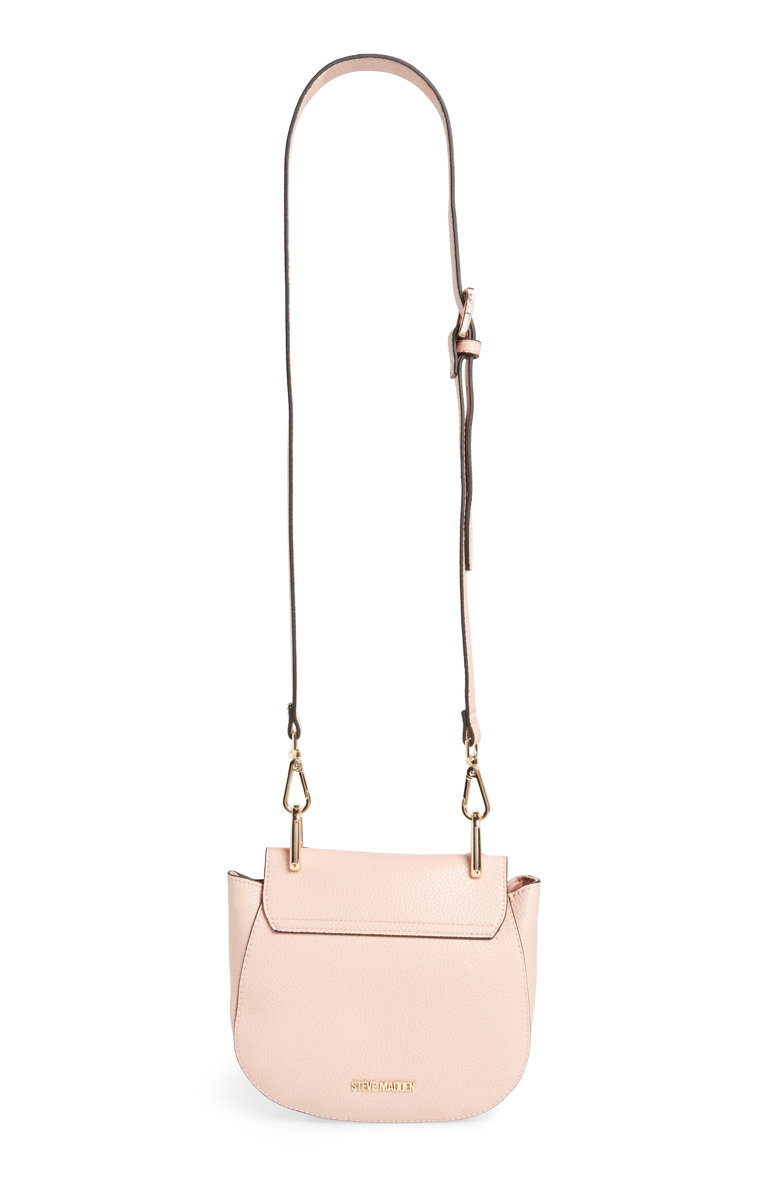 Draped Chain Faux Leather Crossbody Bag,                             Alternate thumbnail 4, color,                             BLUSH