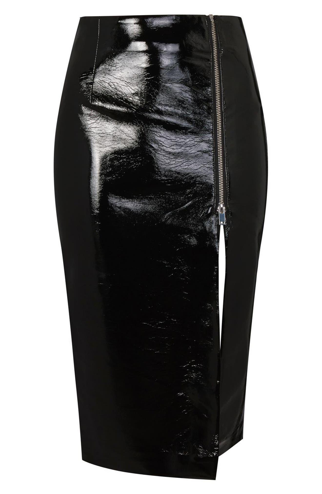 Split Vinyl Pencil Skirt,                             Alternate thumbnail 4, color,