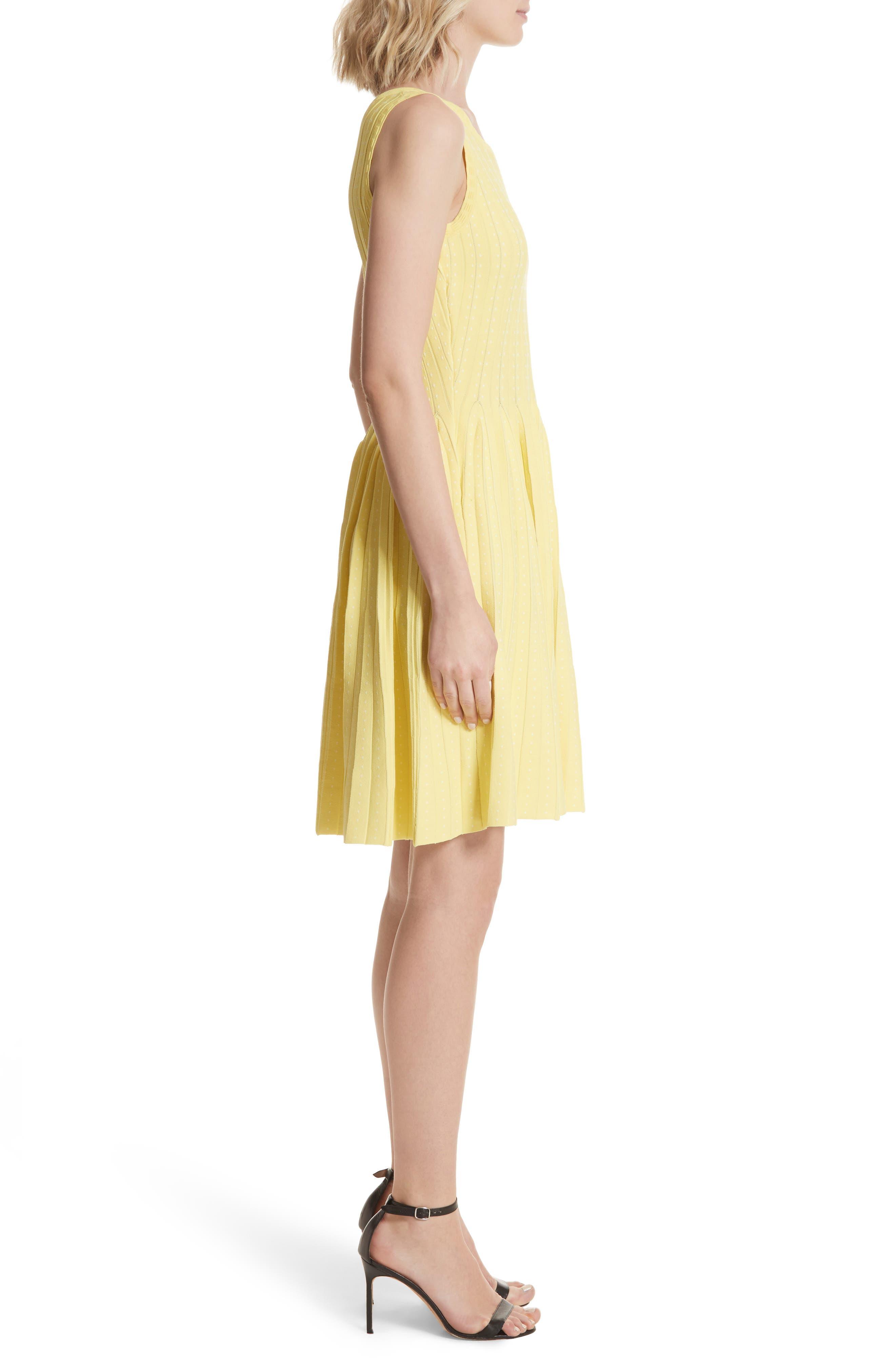 Dot Pleat Fit & Flare Dress,                             Alternate thumbnail 3, color,                             LEMON/ WHITE