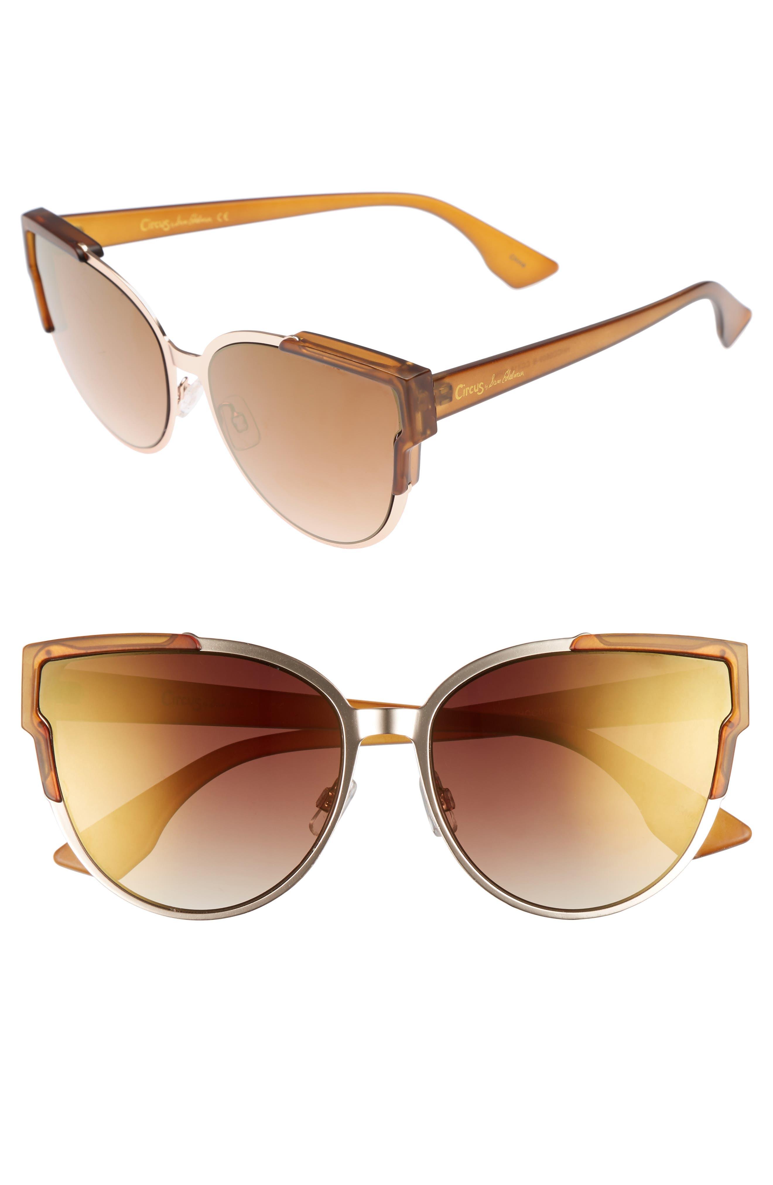 56mm Combo Cat Eye Sunglasses,                             Main thumbnail 2, color,