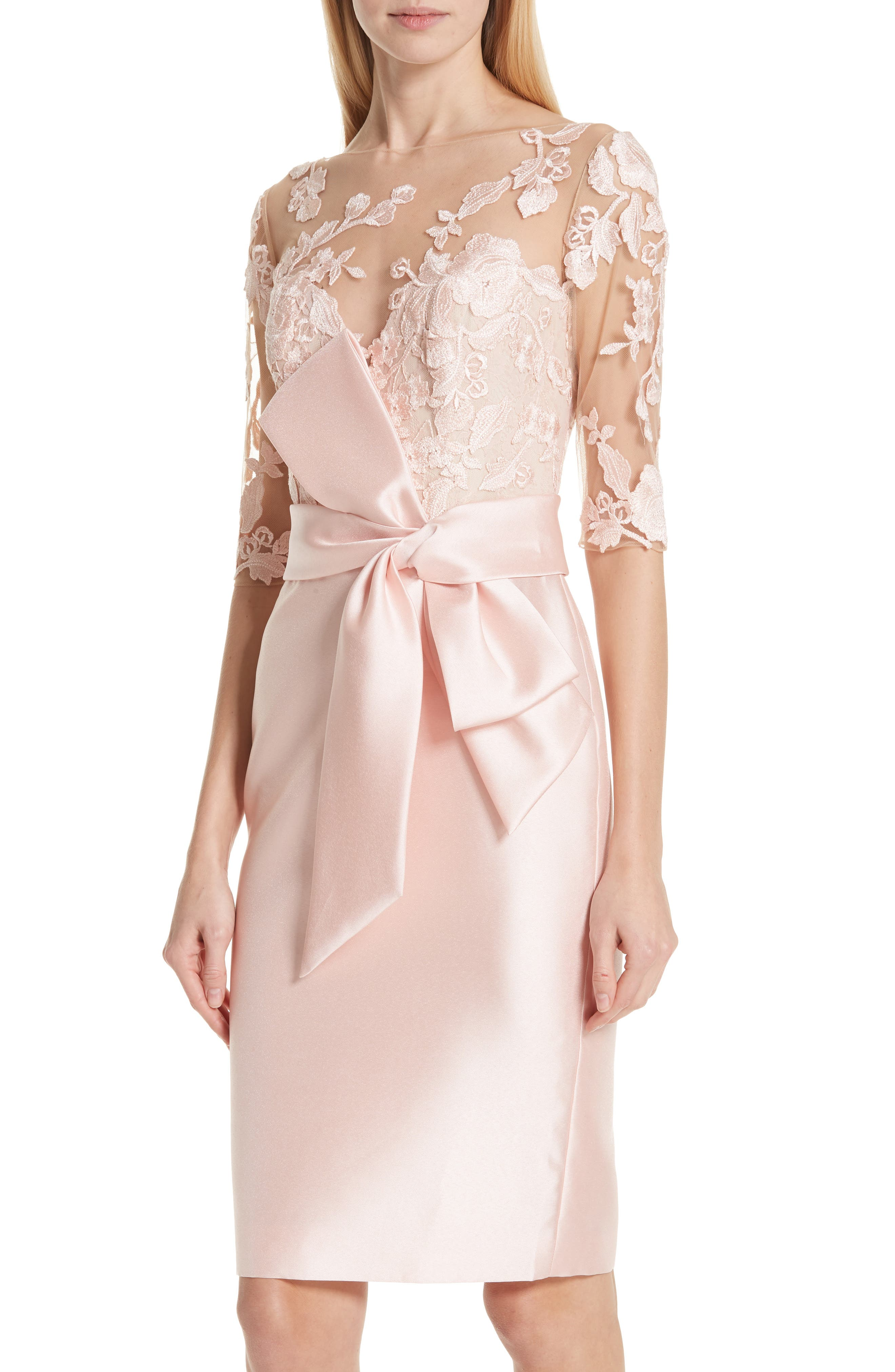 BADGLEY MISCHKA COLLECTION,                             Badgley Mischka Lace Accent Bow Cocktail Dress,                             Alternate thumbnail 4, color,                             PETAL