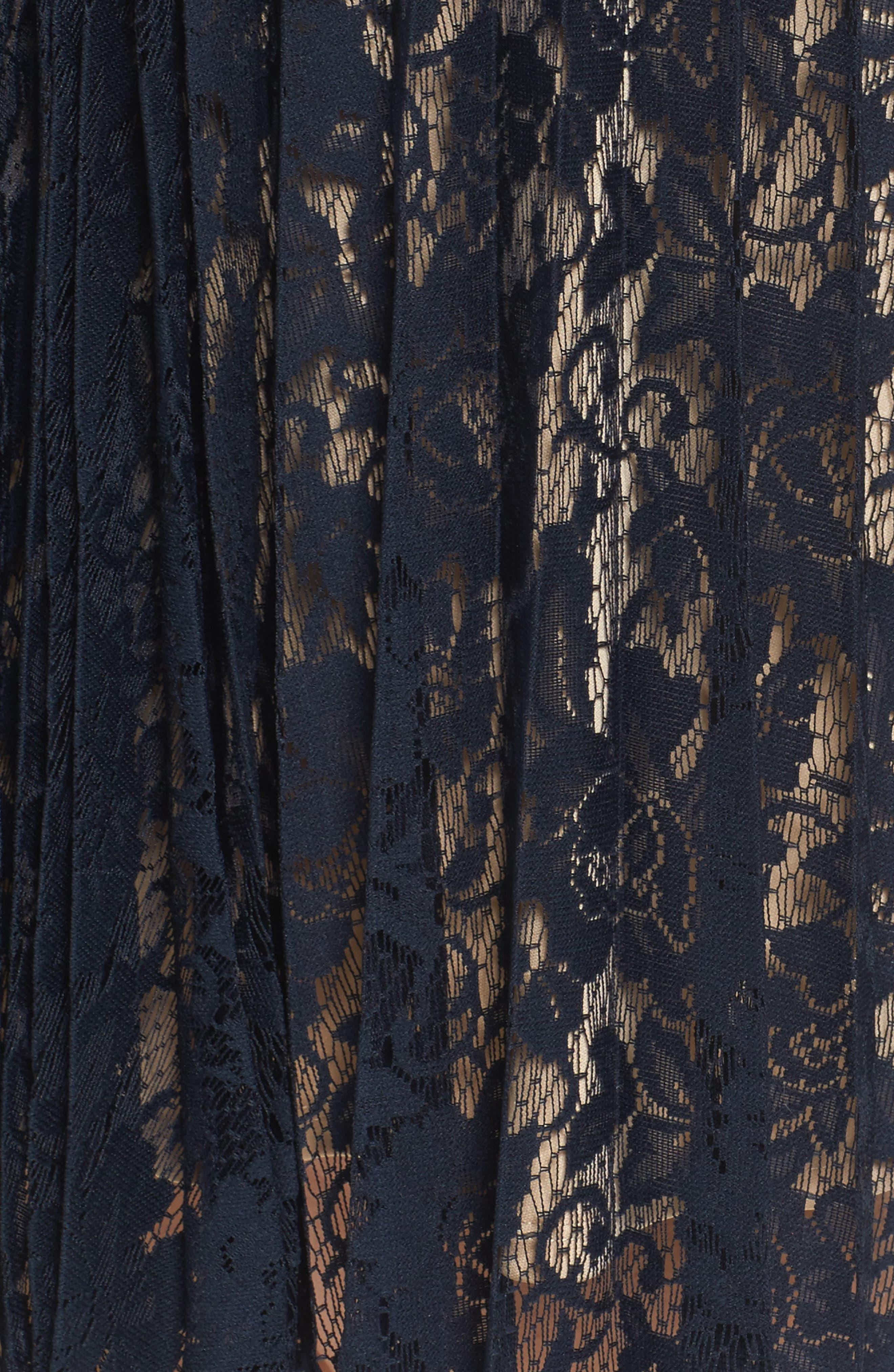 Illusion Lace Pleat Midi Dress,                             Alternate thumbnail 5, color,                             410