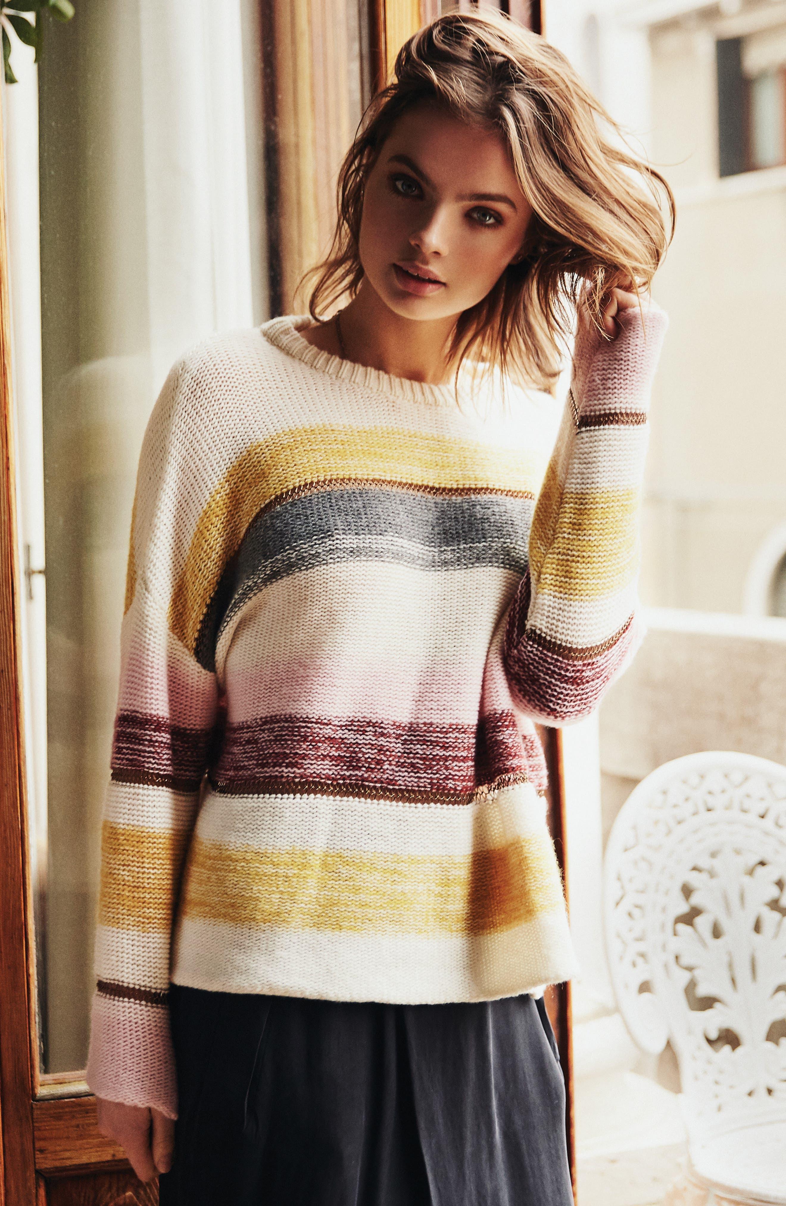 Daphne Stripe Wool & Cashmere Sweater,                             Alternate thumbnail 8, color,                             672