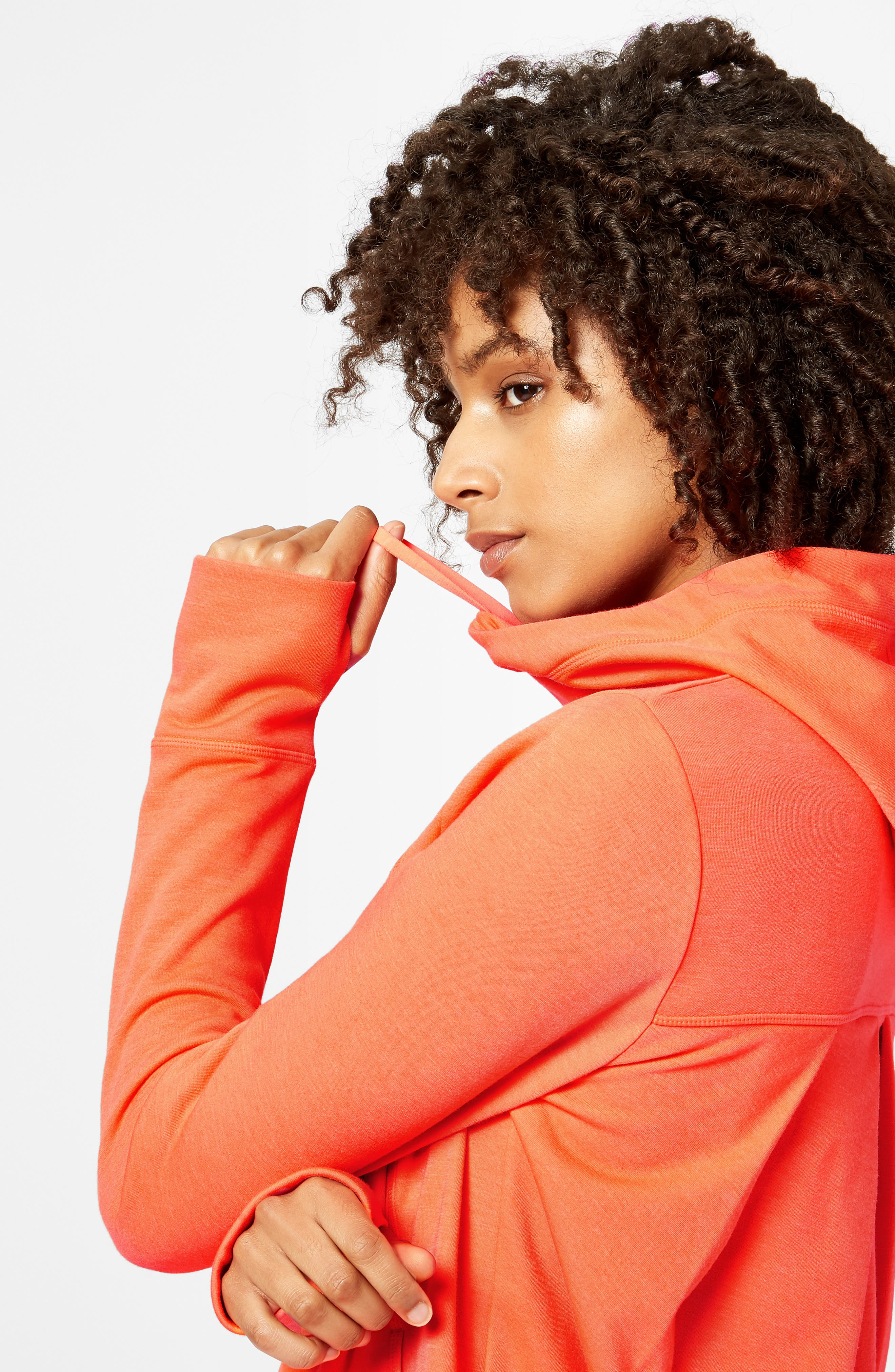 Pleated Tech Run Hoodie,                             Alternate thumbnail 8, color,                             CORAL