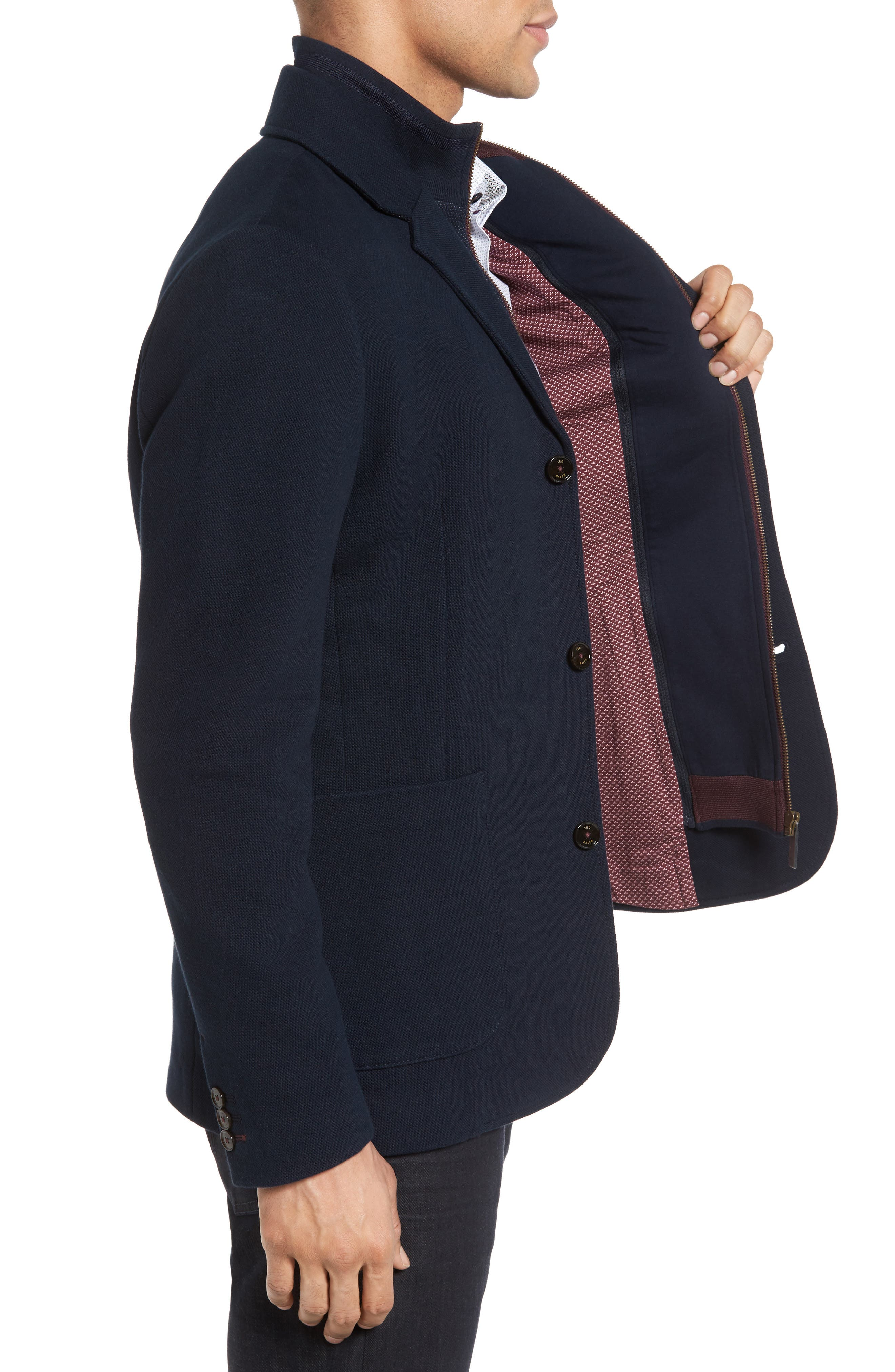 Knit Bib Inset Three-Button Jacket,                             Alternate thumbnail 3, color,                             410