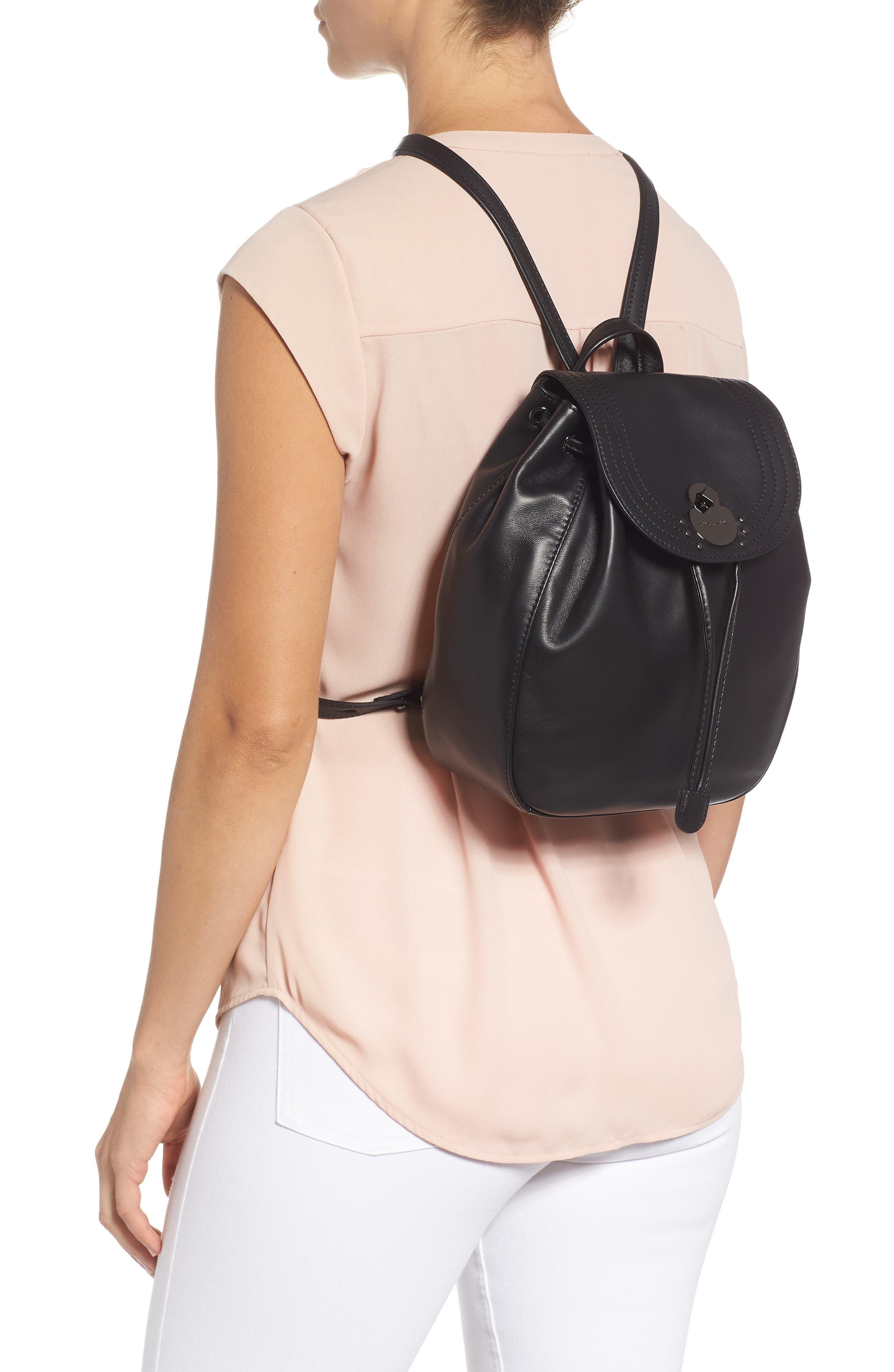Cavalcade Leather Backpack,                             Alternate thumbnail 2, color,                             BLACK