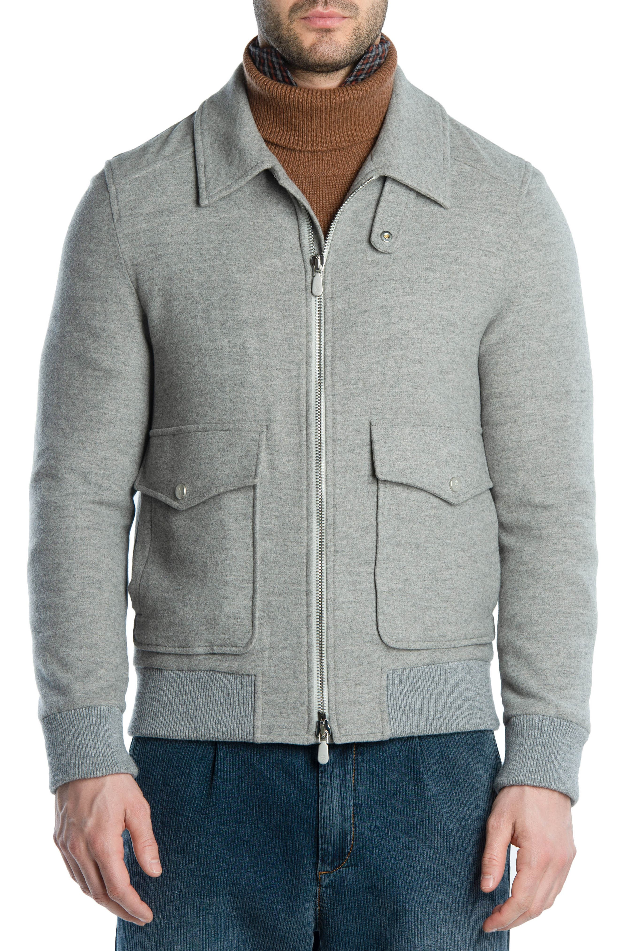 Wool & Cashmere Bomber Jacket,                             Main thumbnail 1, color,                             LIGHT GREY