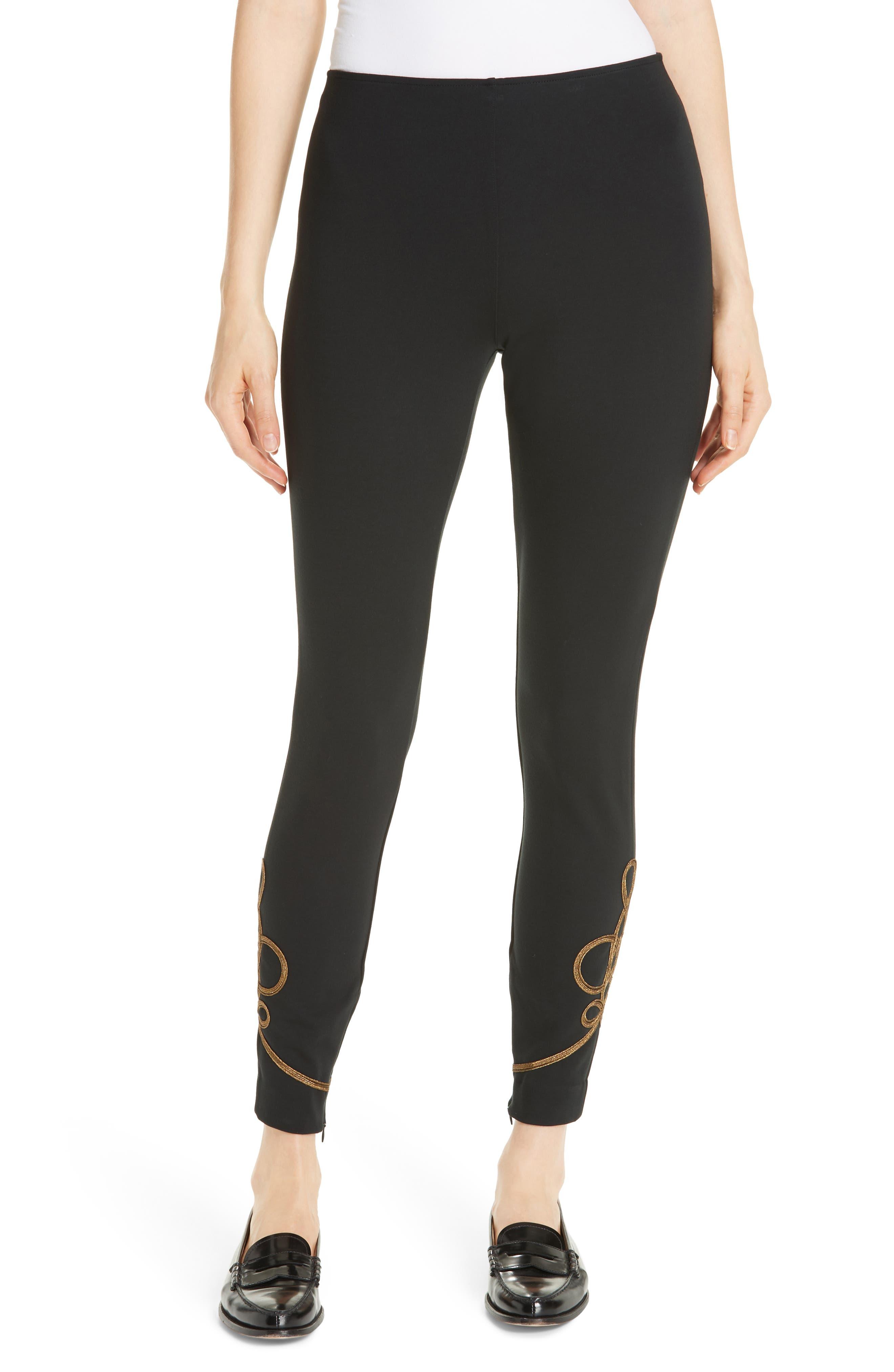 Soutache Stretch Slim Pants,                         Main,                         color, 001
