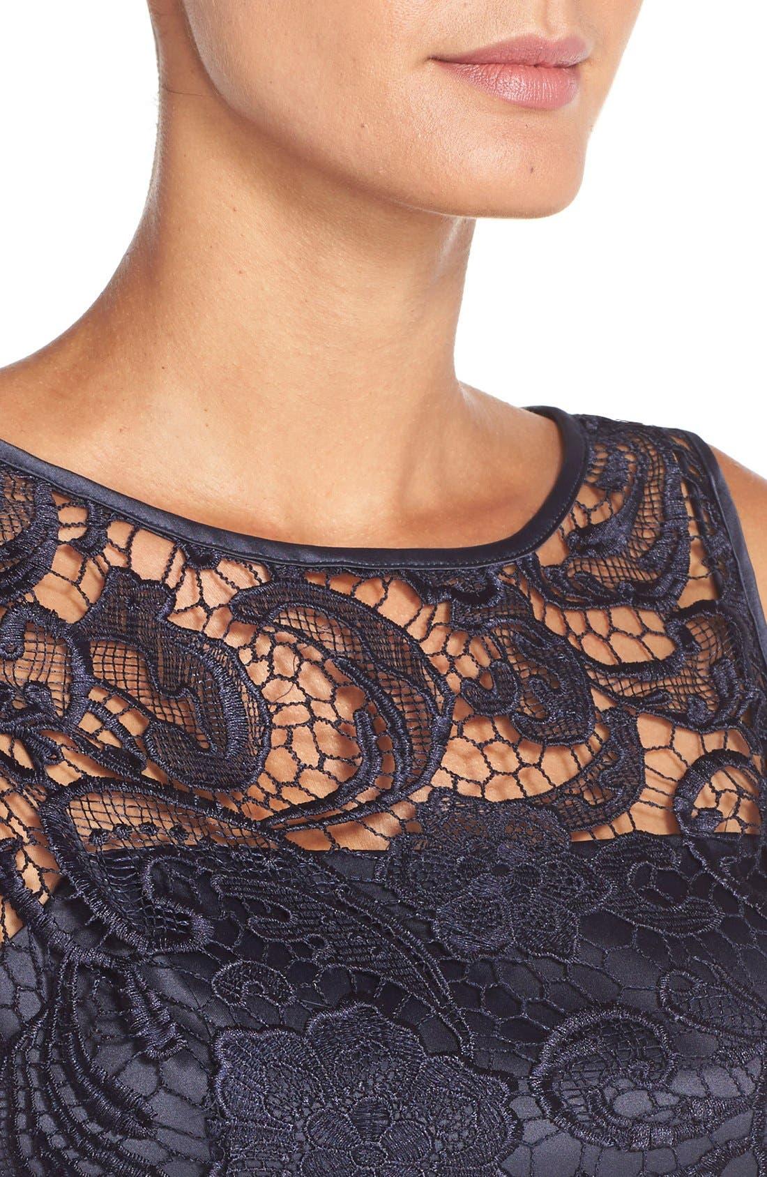 Illusion Bodice Lace Sheath Dress,                             Alternate thumbnail 16, color,