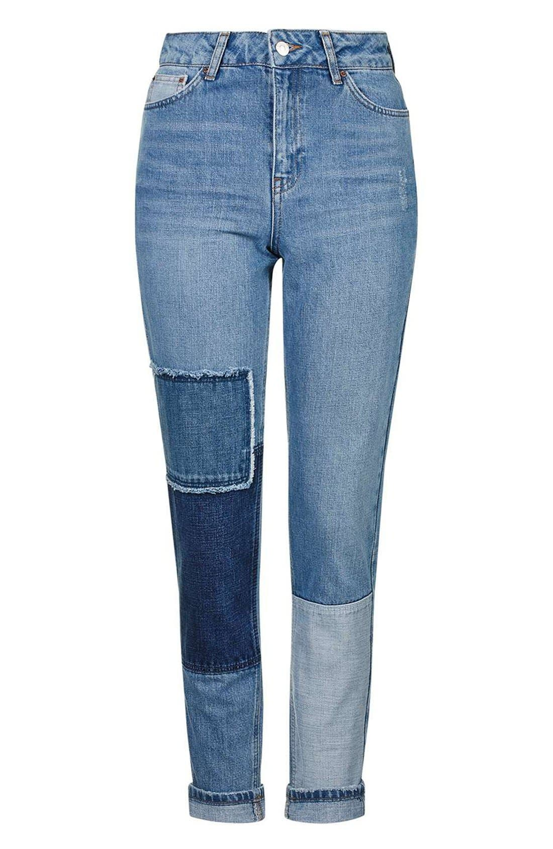 Mom Patchwork High Rise Jeans,                             Alternate thumbnail 3, color,                             400