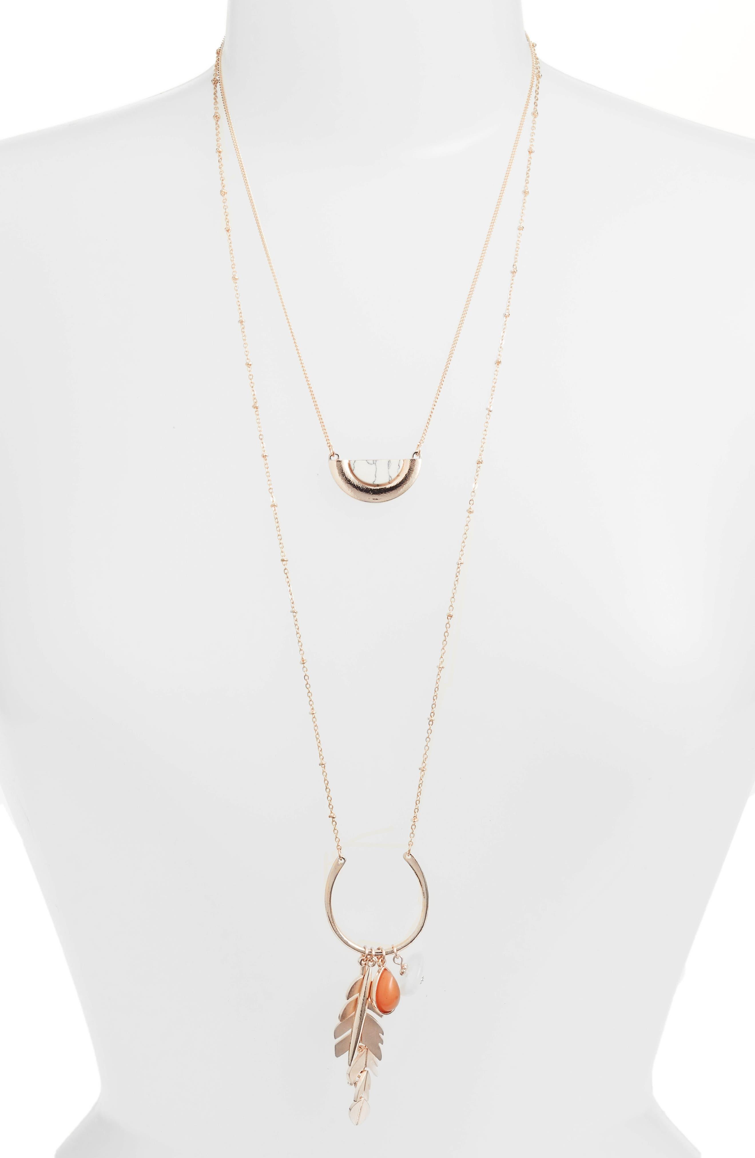 Rose Quartz Leaf Layered Pendant Necklace,                             Main thumbnail 1, color,