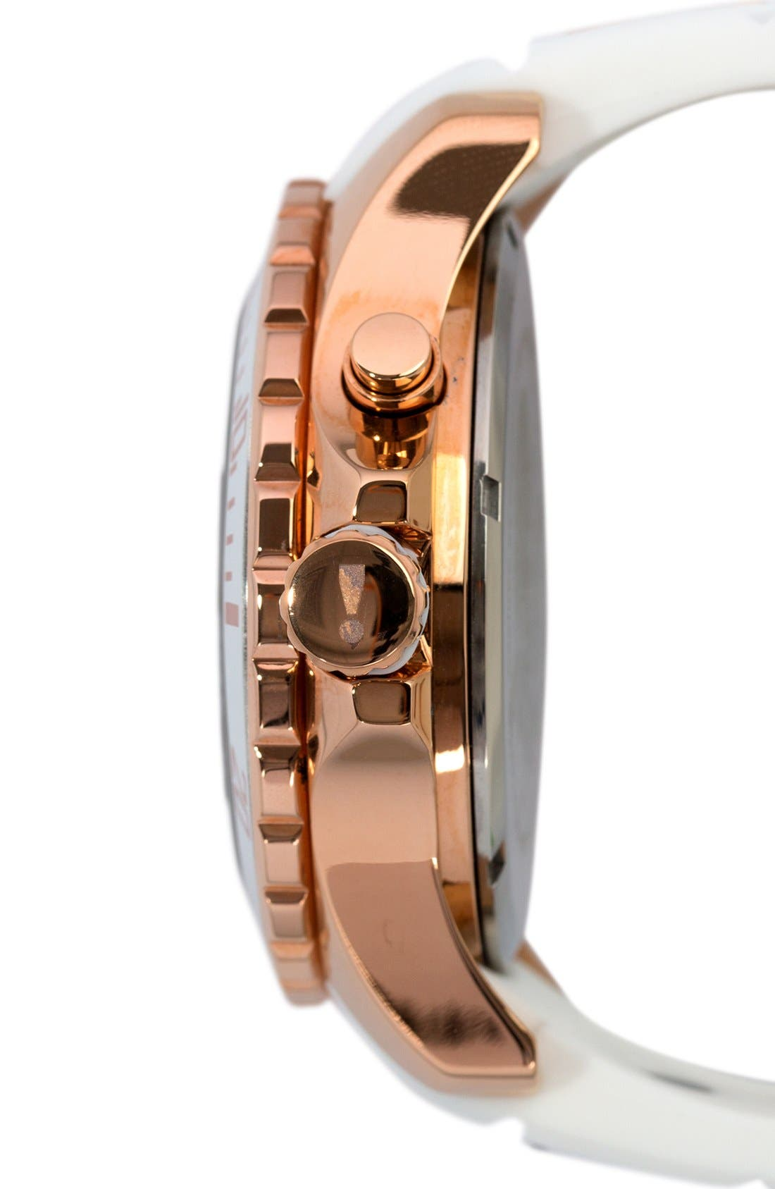 Silicone Strap Watch, 48mm,                             Alternate thumbnail 2, color,                             WHITE/ ROSE GOLD