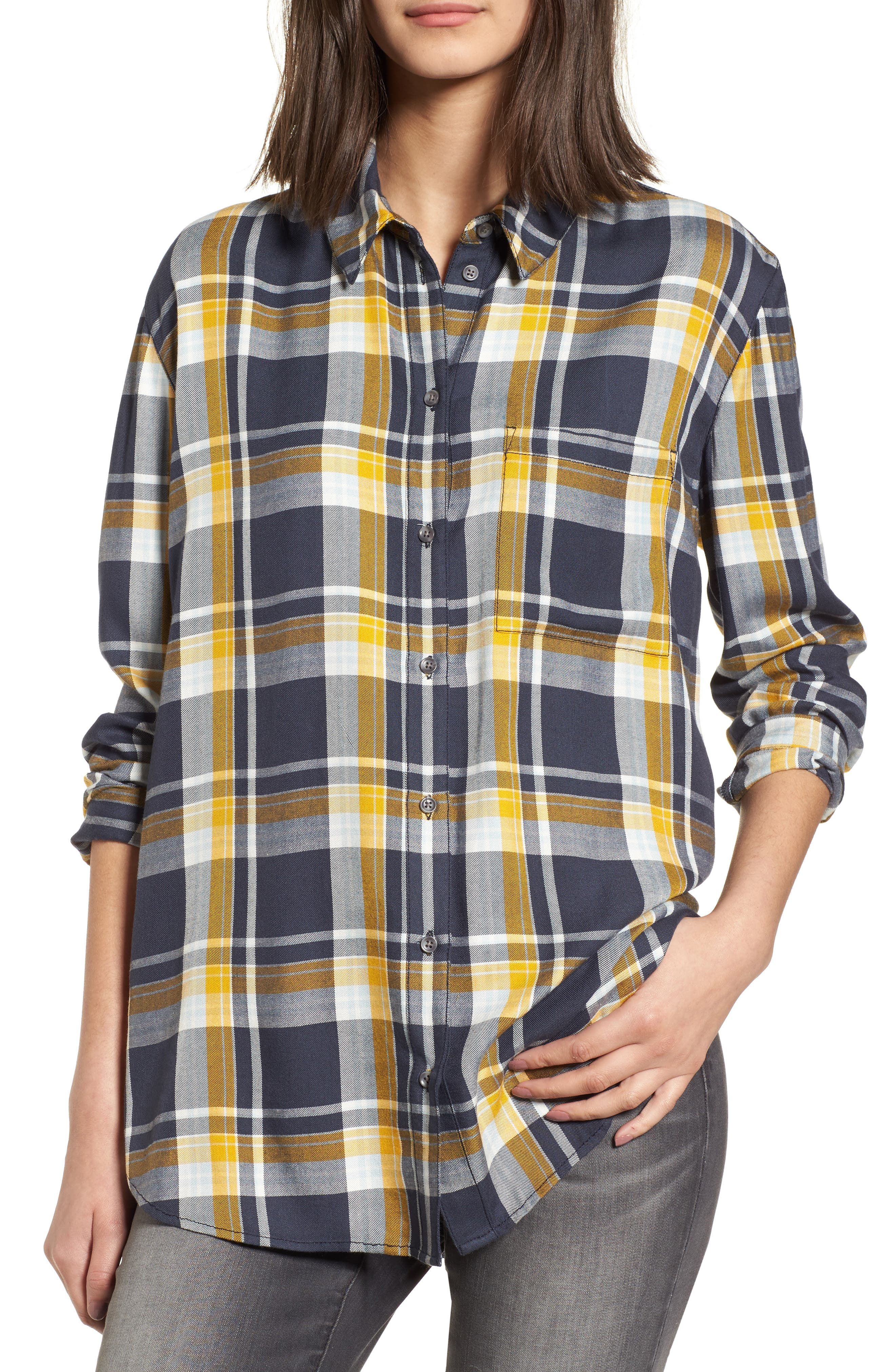 Plaid Boyfriend Shirt,                         Main,                         color,