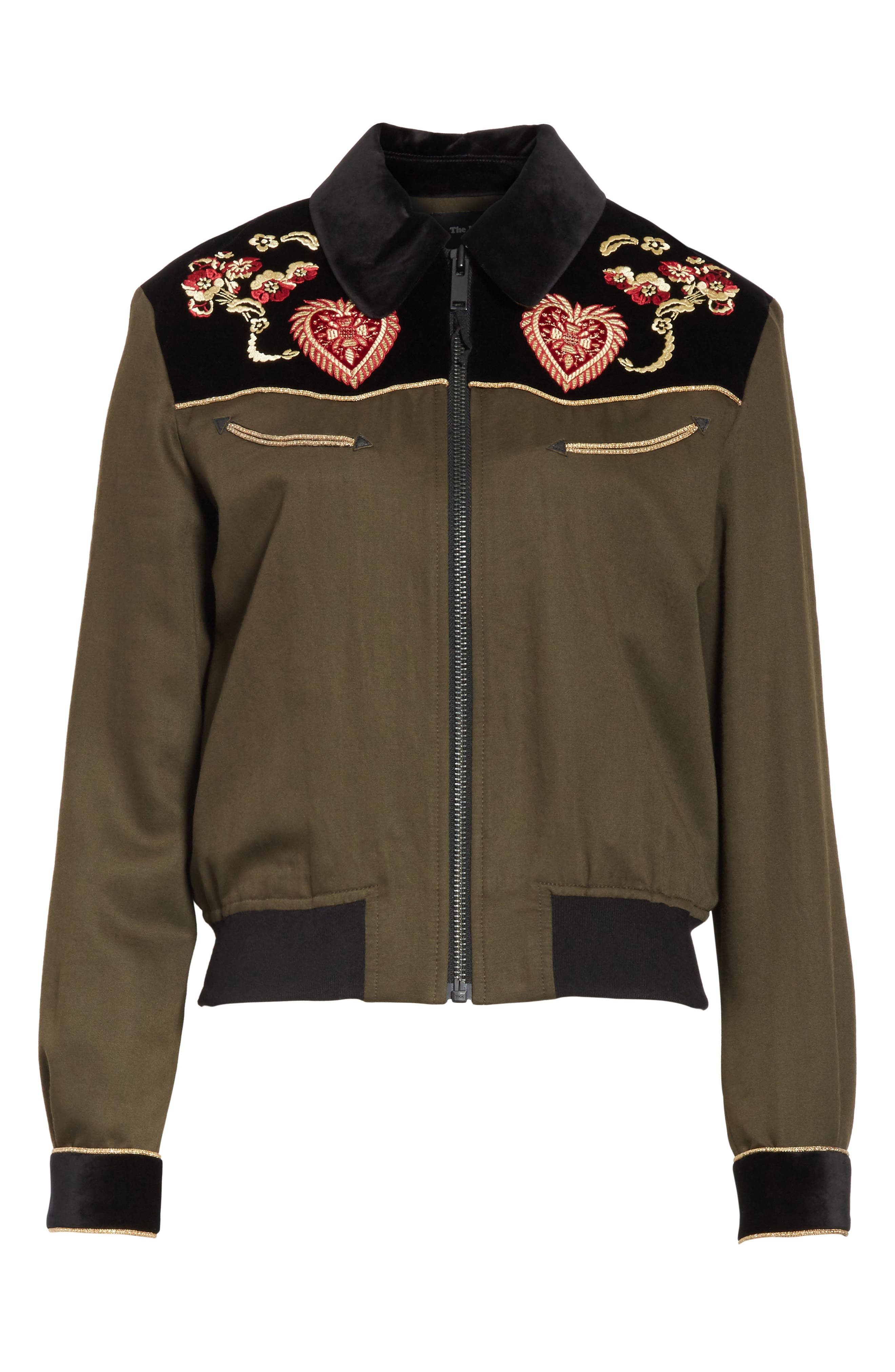Contrast Embroidery Bomber Jacket,                             Alternate thumbnail 5, color,