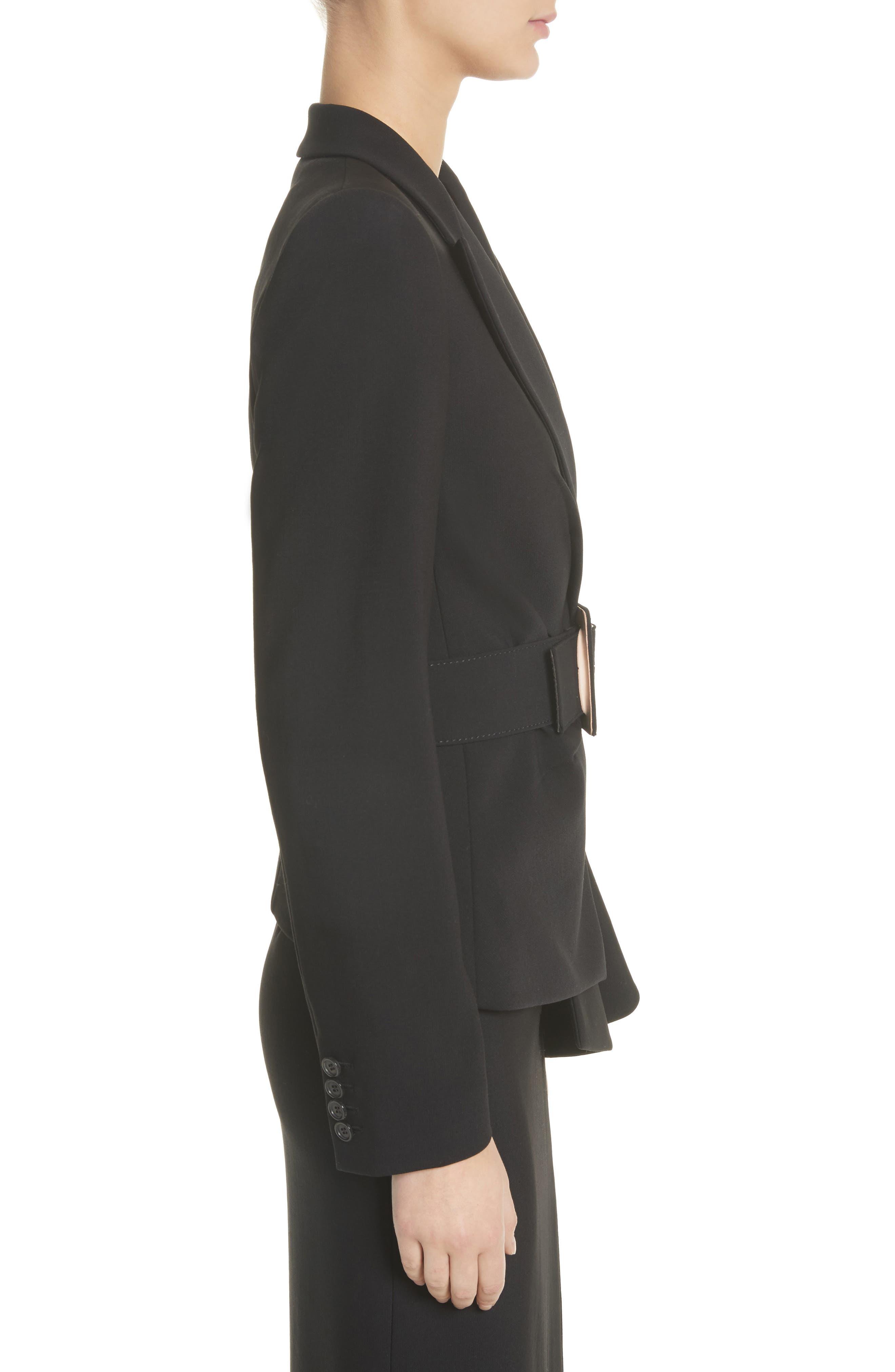 Belted Wool Blend Pebble Crepe Blazer,                             Alternate thumbnail 3, color,                             BLACK