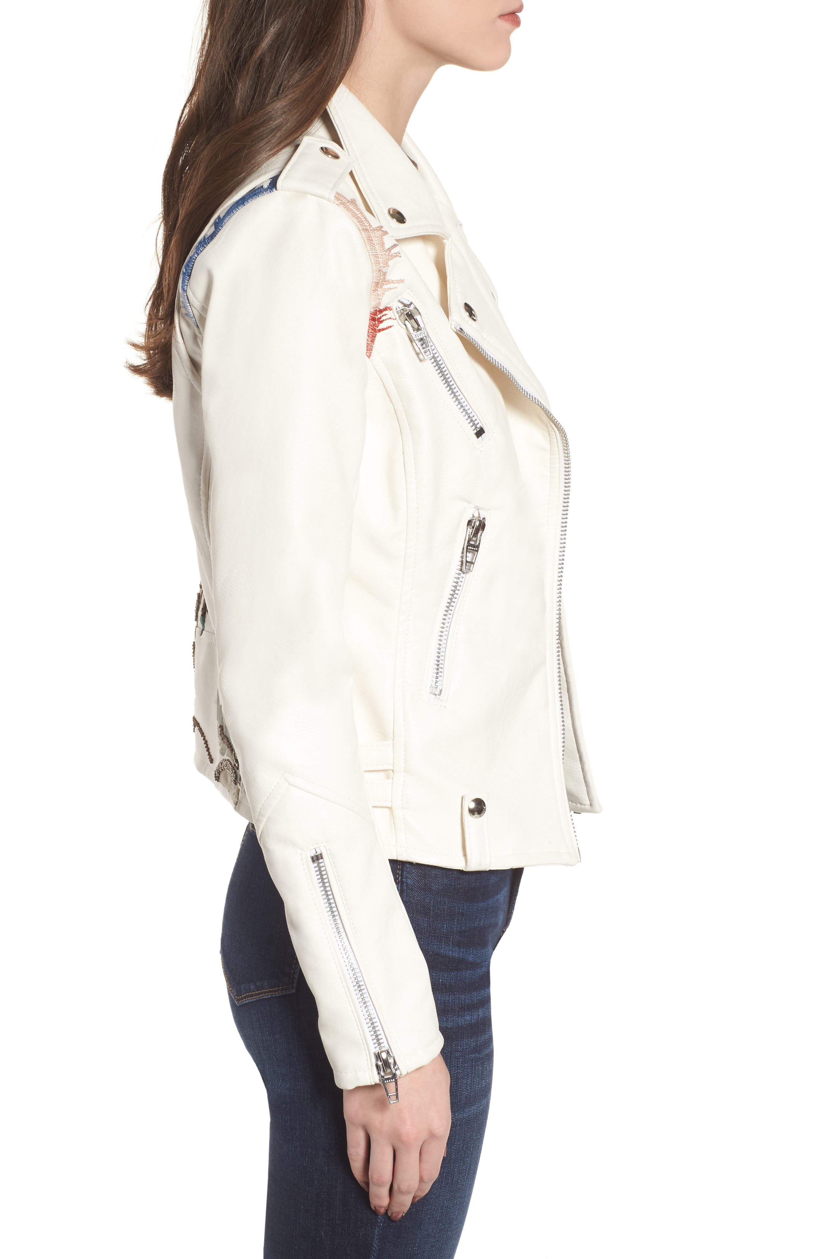 Embroidered Faux Leather Moto Jacket,                             Alternate thumbnail 3, color,                             900