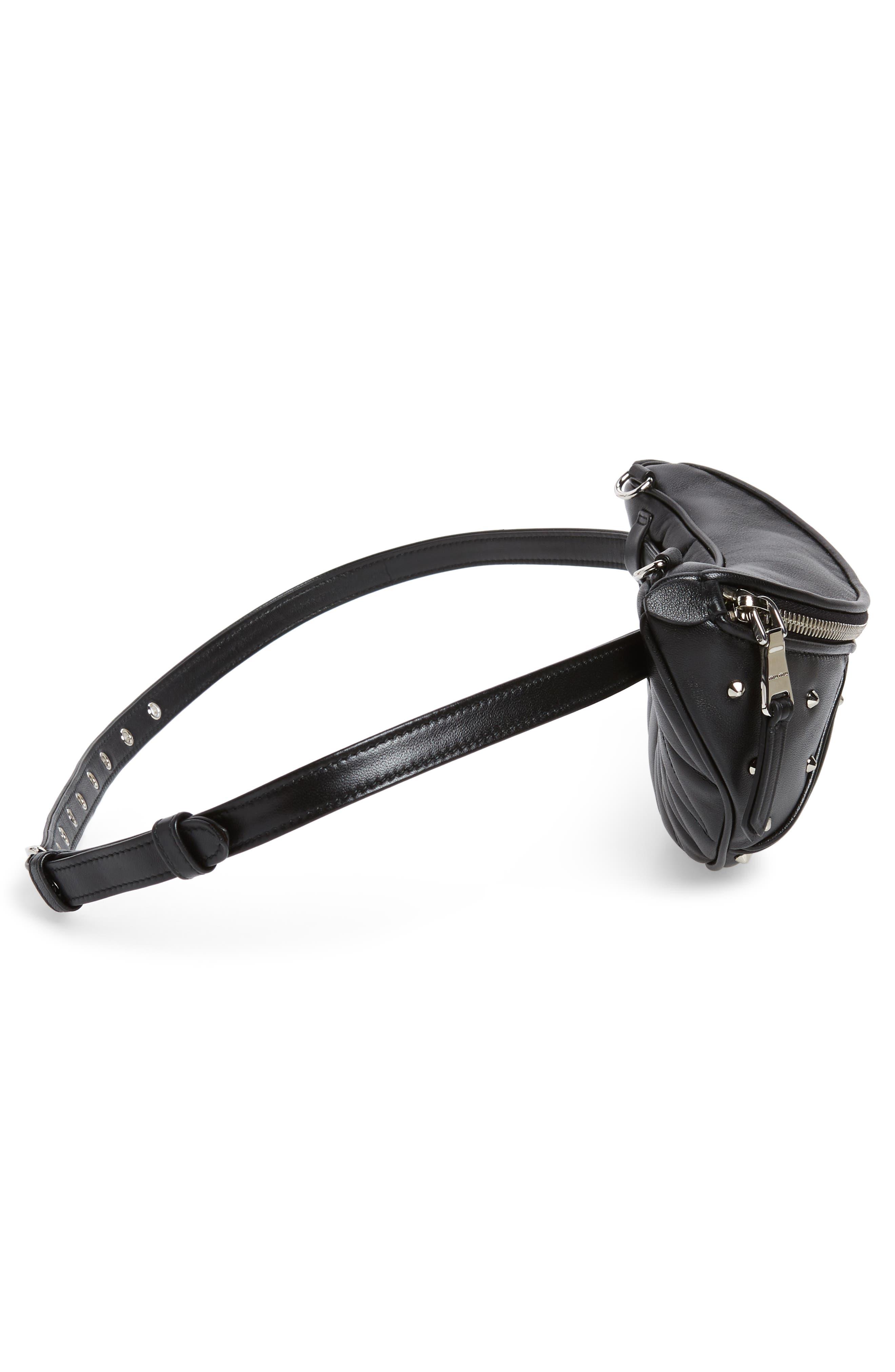 Studded Lambskin Leather Belt Bag,                             Alternate thumbnail 7, color,                             NERO