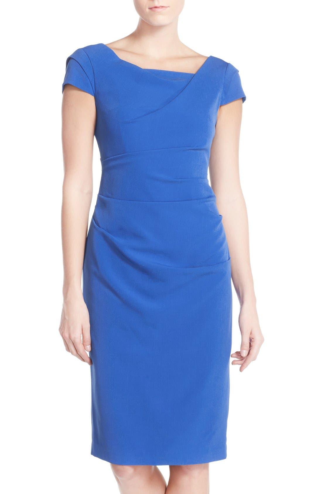 Ruched Matte Stretch Crepe Sheath Dress,                             Main thumbnail 1, color,                             433