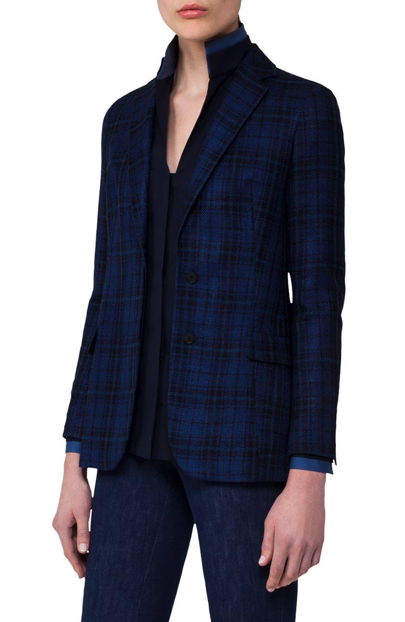 Check Silk & Cotton Jacket,                             Main thumbnail 1, color,                             400