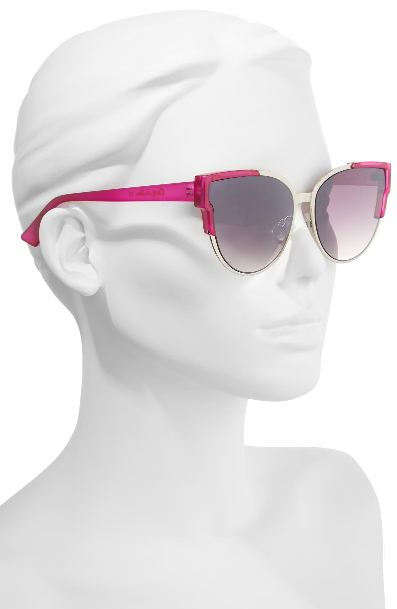 56mm Combo Cat Eye Sunglasses,                             Alternate thumbnail 8, color,
