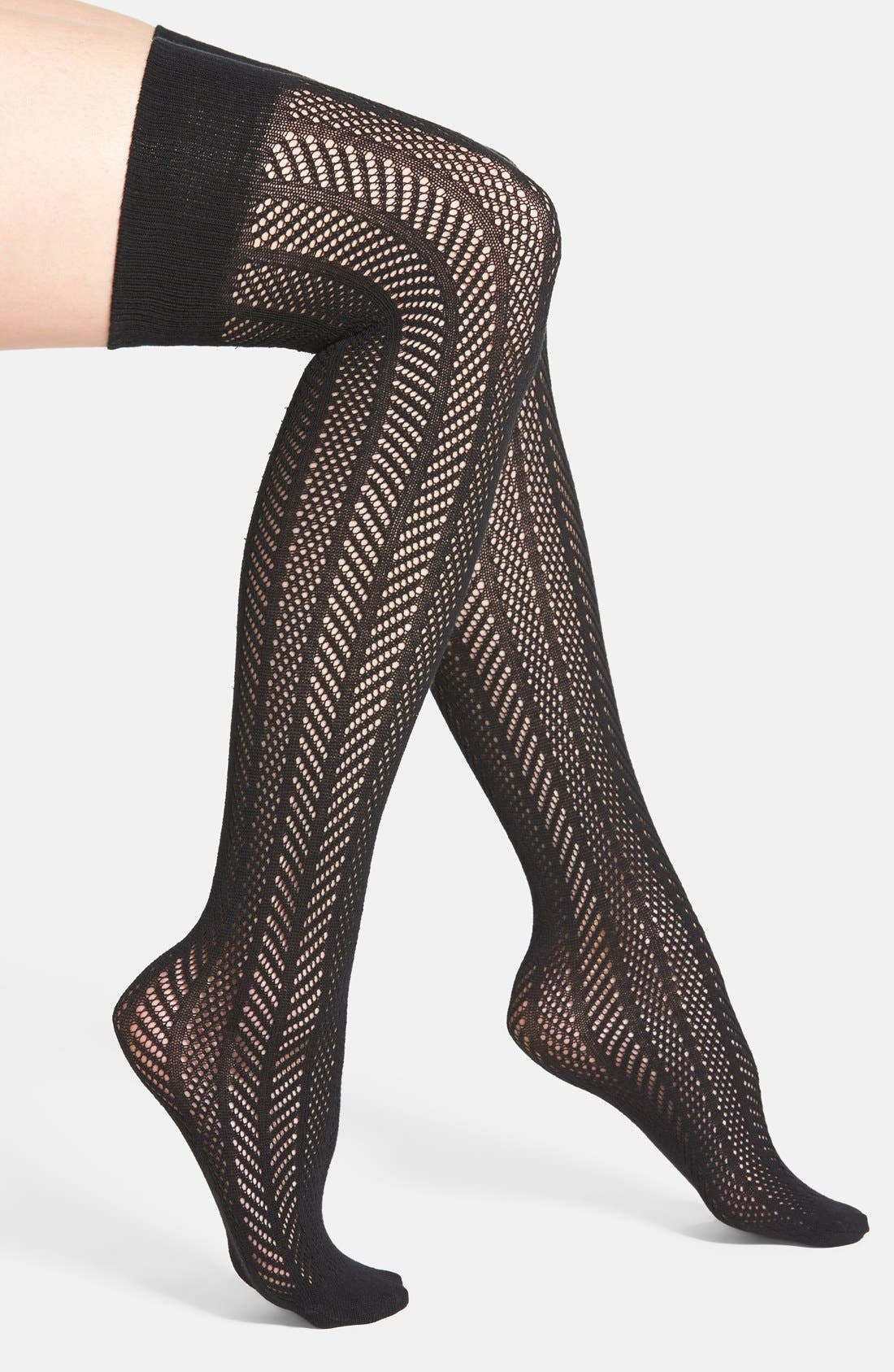 Openwork Knit Thigh High Socks,                             Main thumbnail 1, color,                             001
