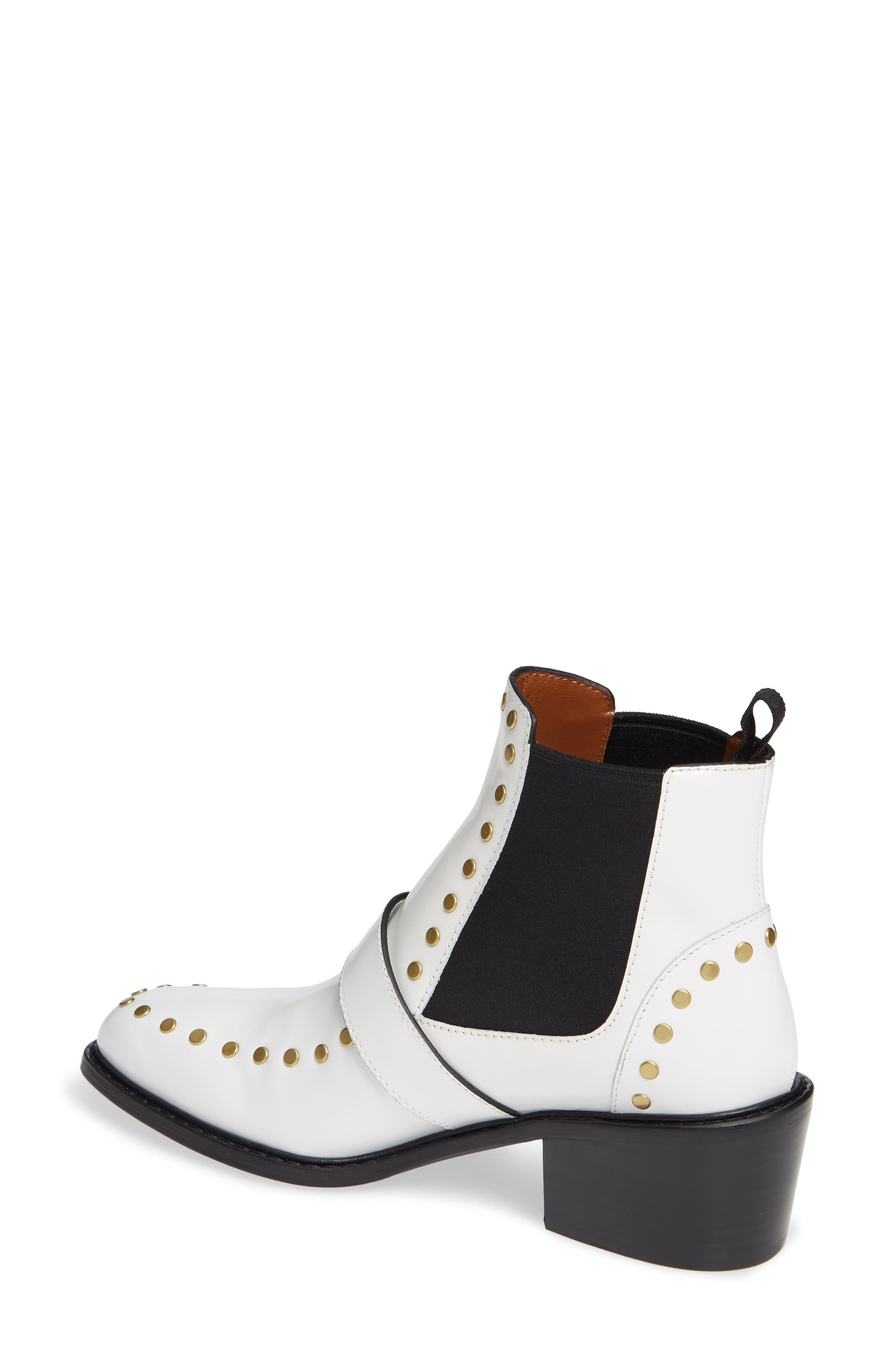 Nora Studded Chelsea Boot,                             Alternate thumbnail 2, color,                             WHITE LEATHER