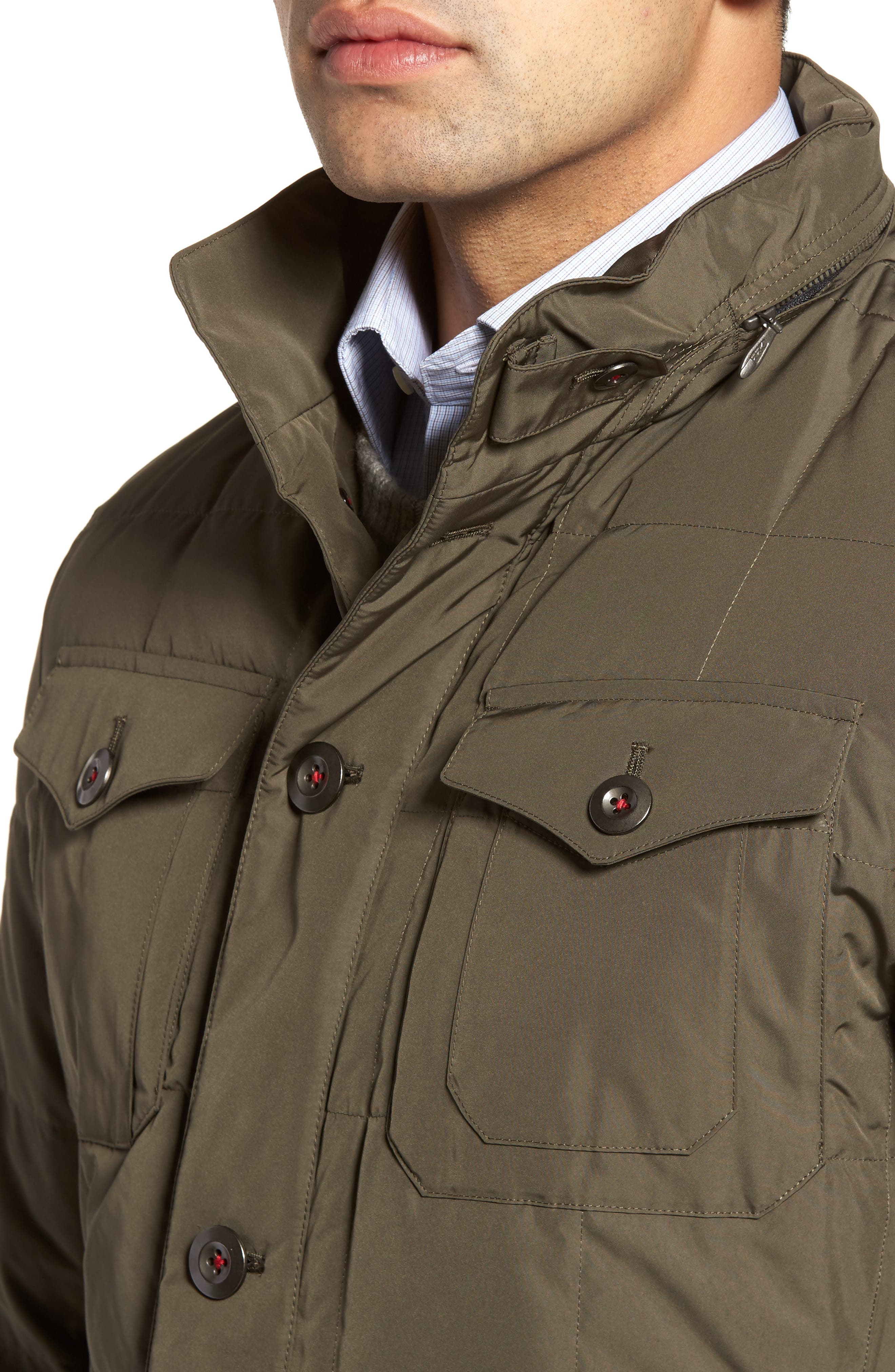 Quilted Down Field Jacket with Stowaway Hood,                             Alternate thumbnail 7, color,