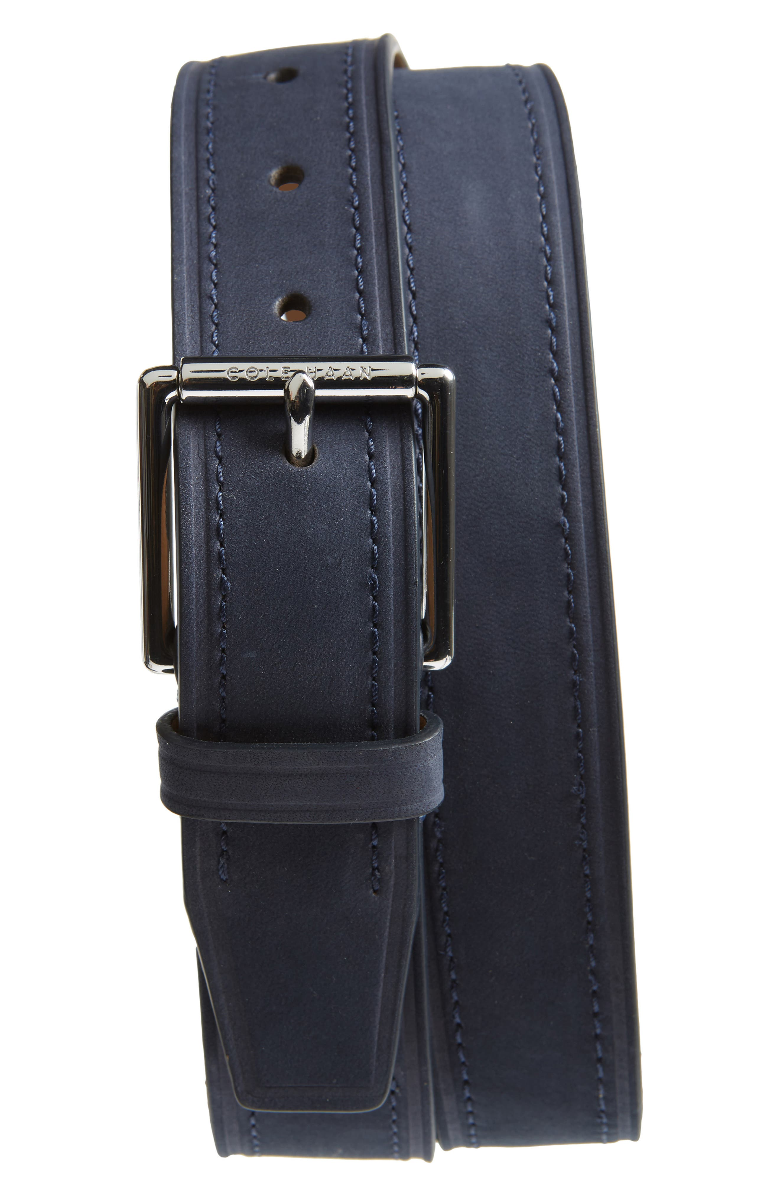 Cole Haan Cut Edge Leather Belt, Navy