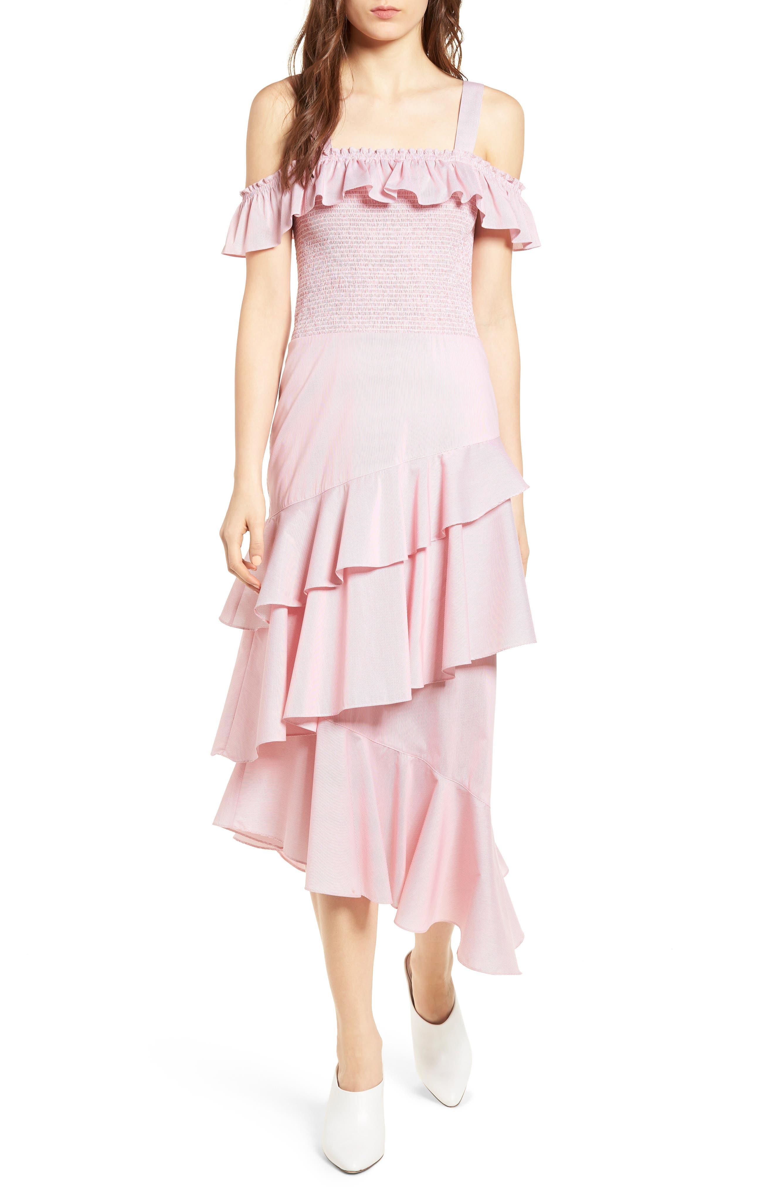 Ruffle Smocked Cold Shoulder Dress,                             Main thumbnail 2, color,