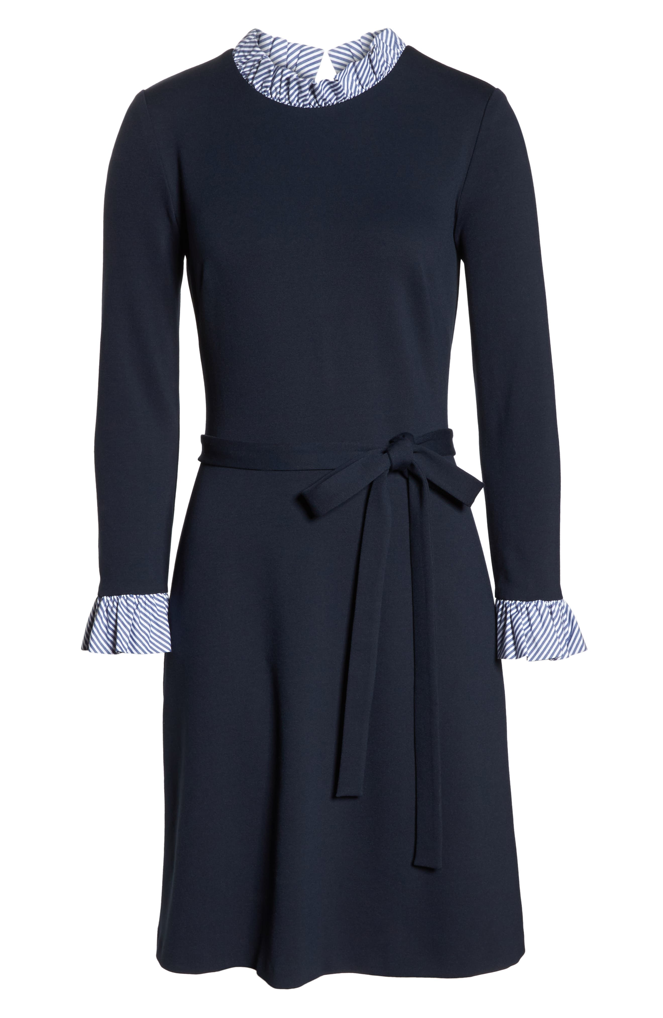 Long Sleeve Ruffle Detail Shirtdress,                             Alternate thumbnail 8, color,                             NAVY