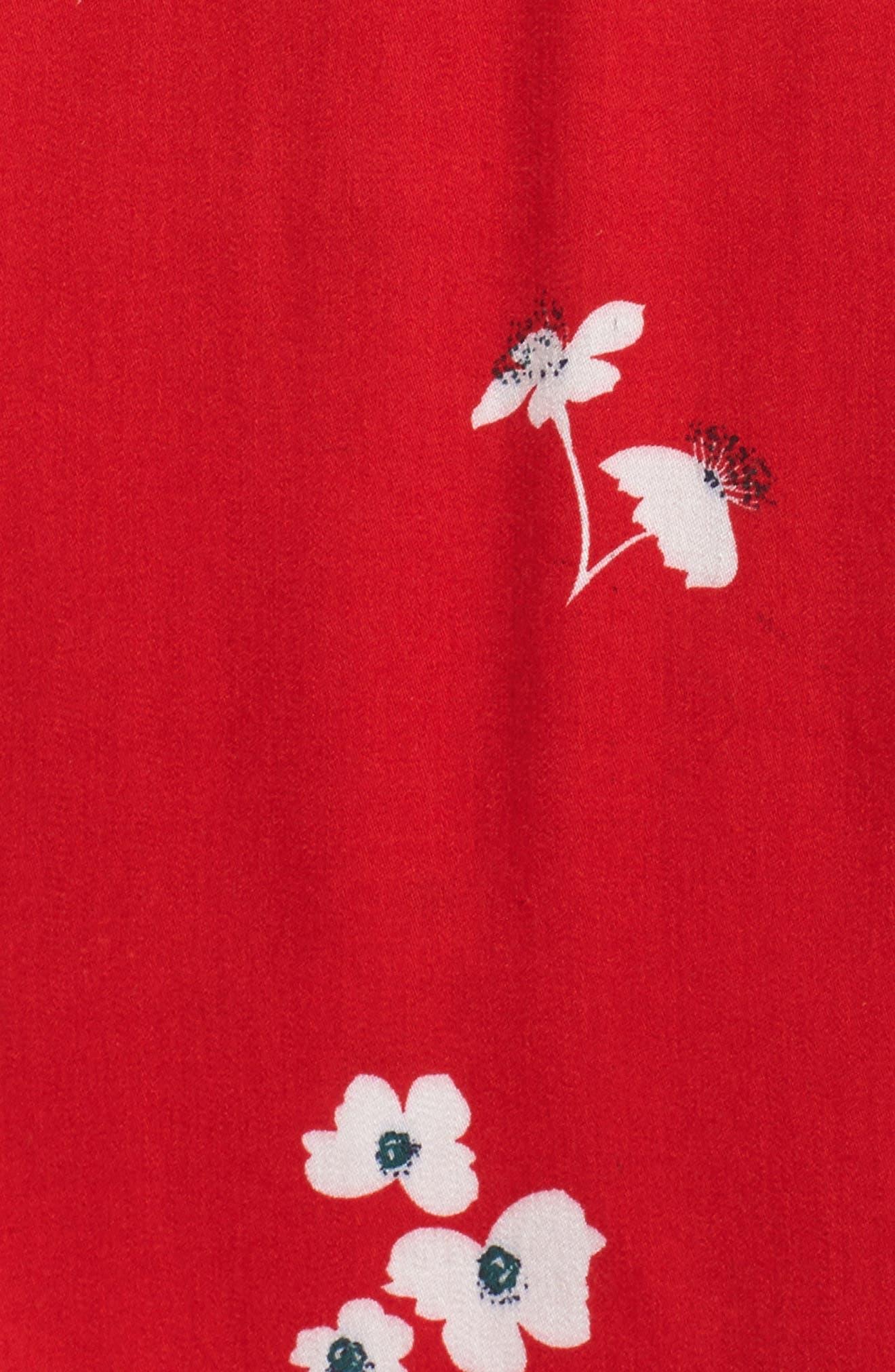 Edie Floral Faux Wrap Dress,                             Alternate thumbnail 6, color,                             645