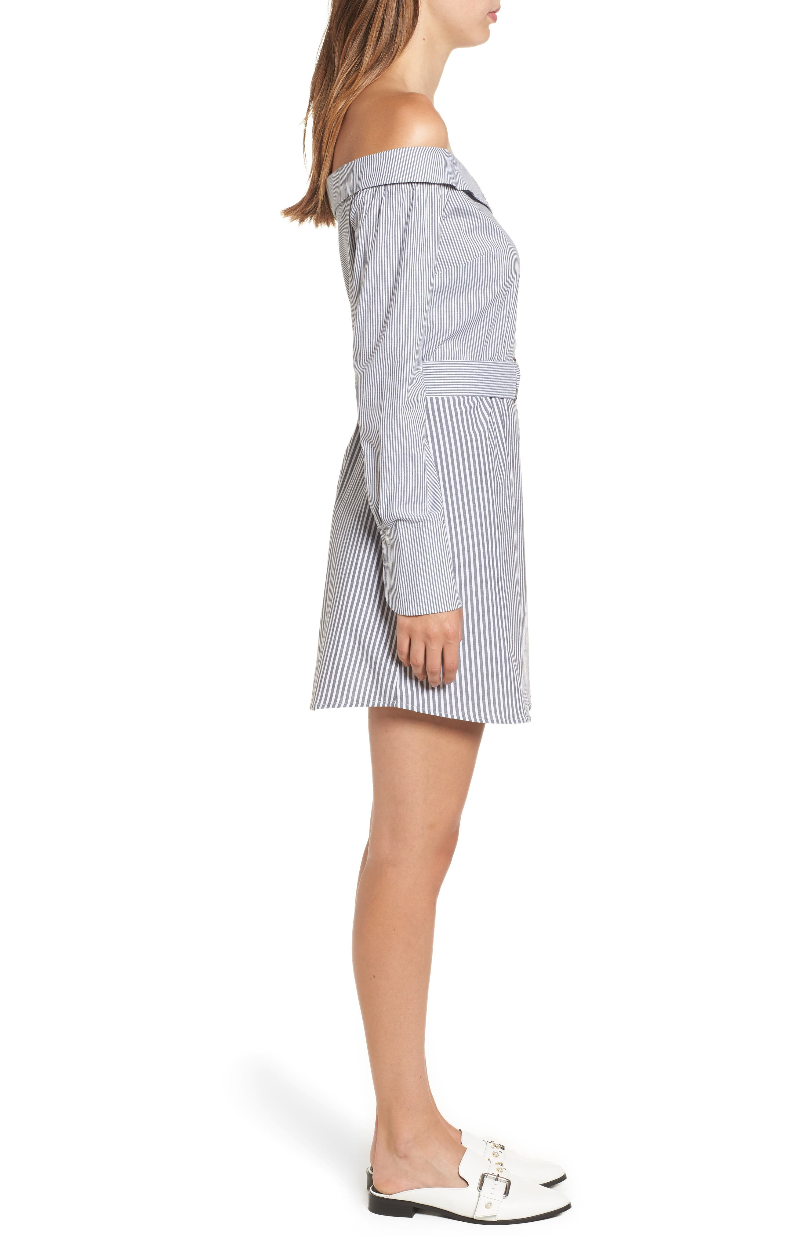 Portrait Neck Stripe Poplin Shirtdress,                             Alternate thumbnail 3, color,                             002