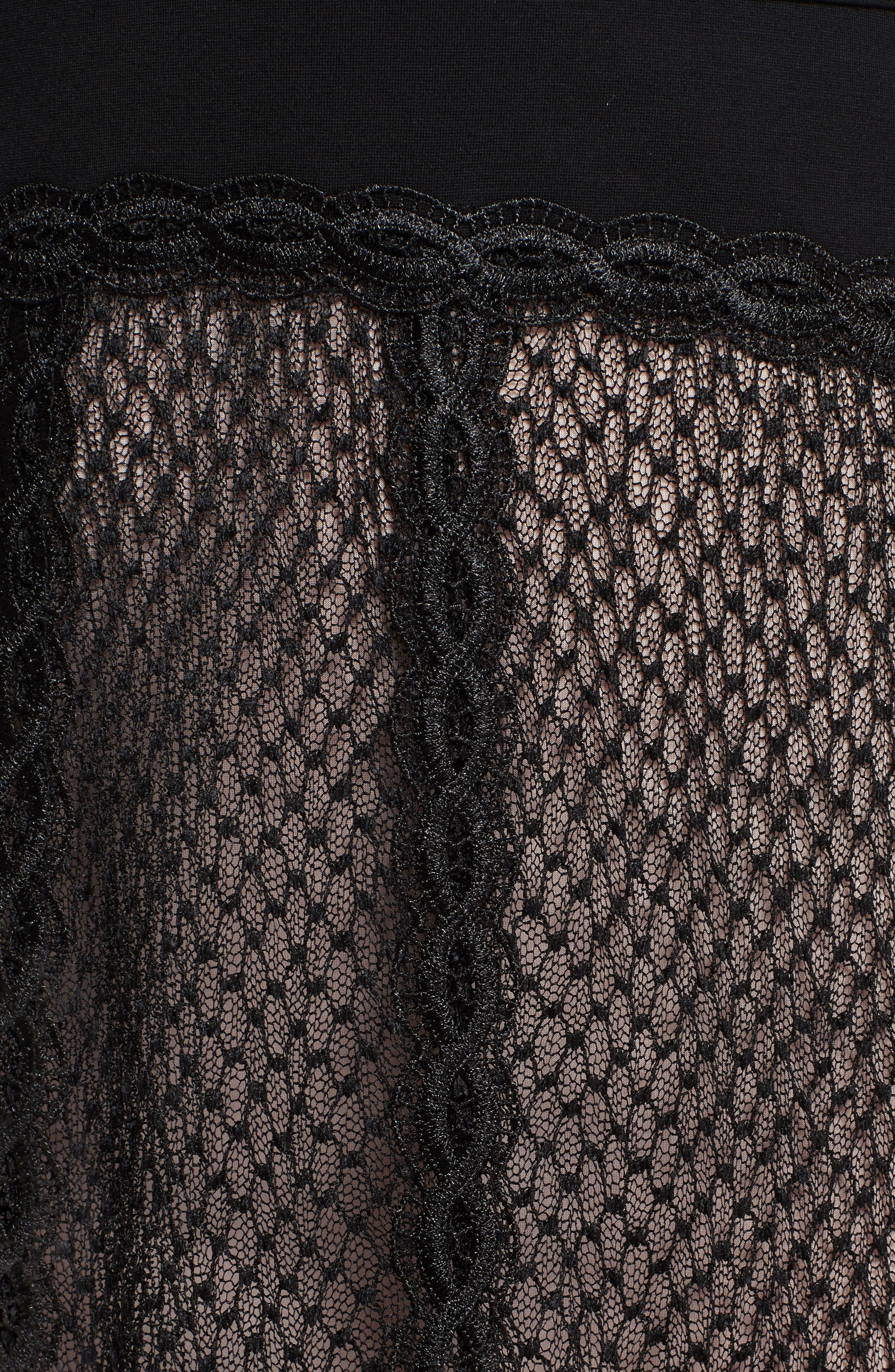 Lace & Mesh Body-Con Dress,                             Alternate thumbnail 5, color,                             001