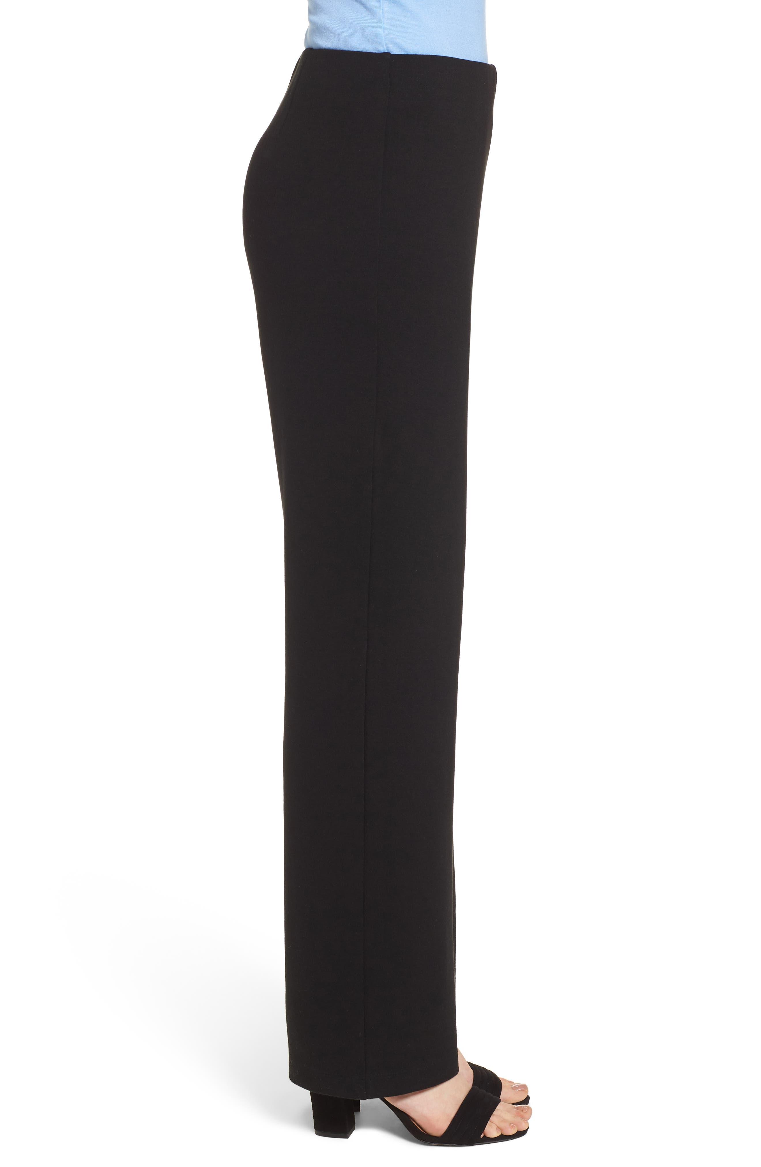 Straight Leg Pants,                             Alternate thumbnail 3, color,                             BLACK