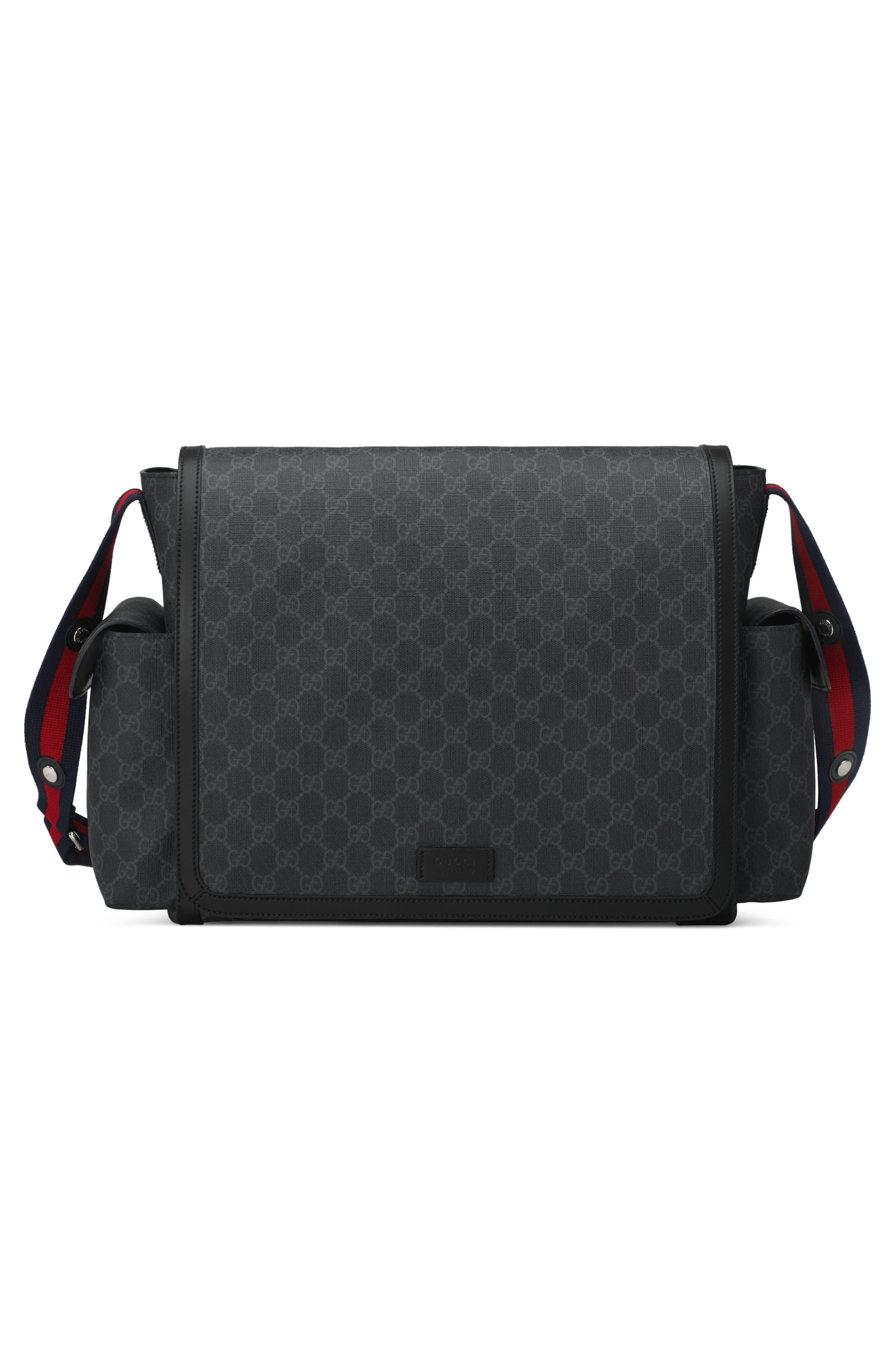 GG Supreme Canvas Diaper Bag,                             Alternate thumbnail 9, color,                             BLACK