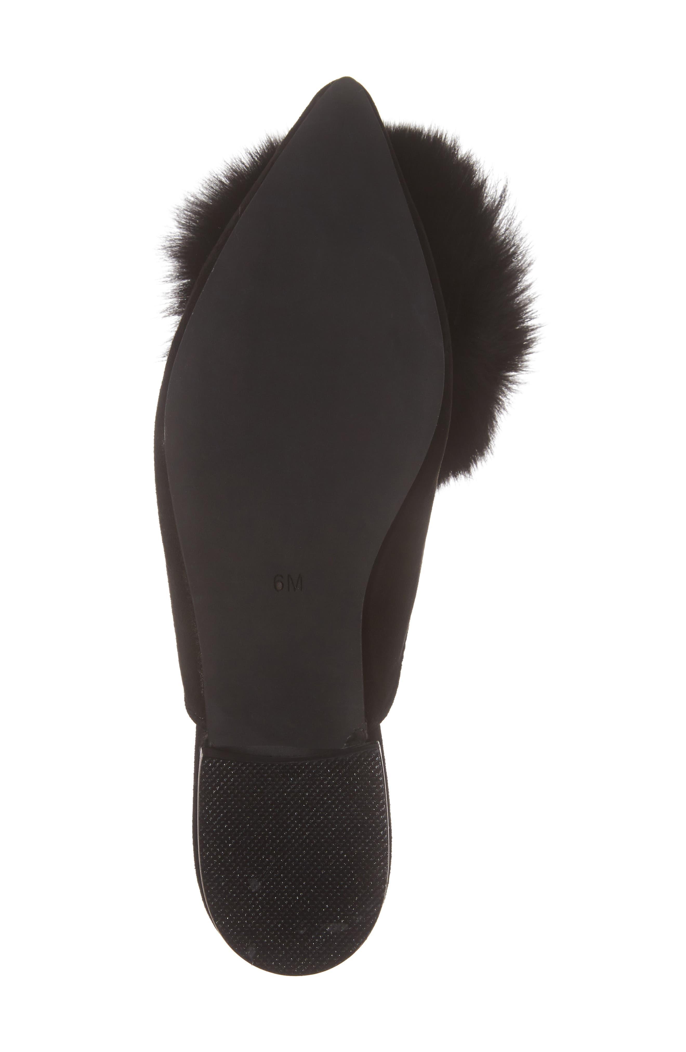 Claes Genuine Fur Pompom Mule,                             Alternate thumbnail 6, color,                             007