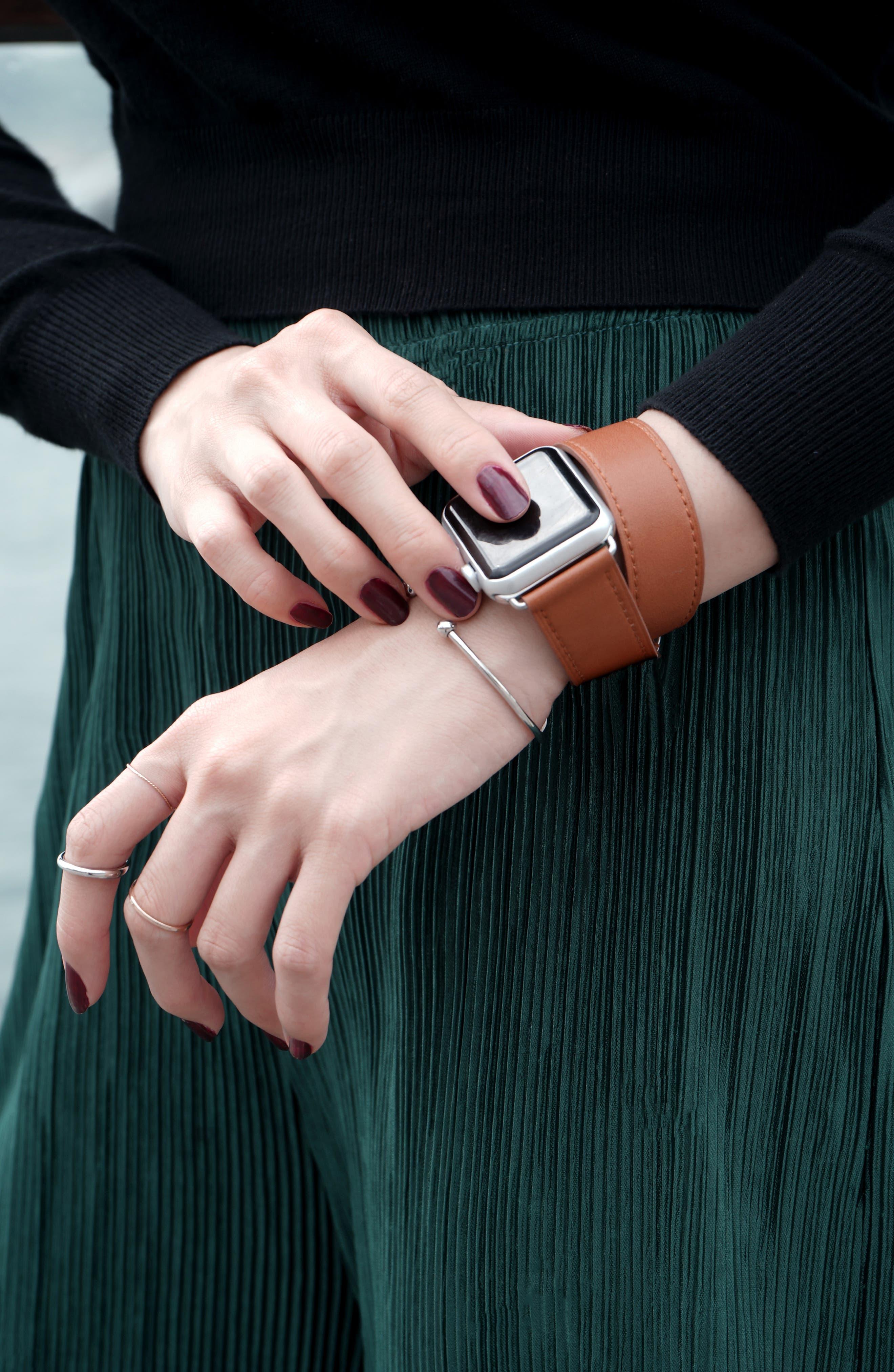 Double Tour Leather Apple Watch Strap,                             Alternate thumbnail 5, color,                             BROWN
