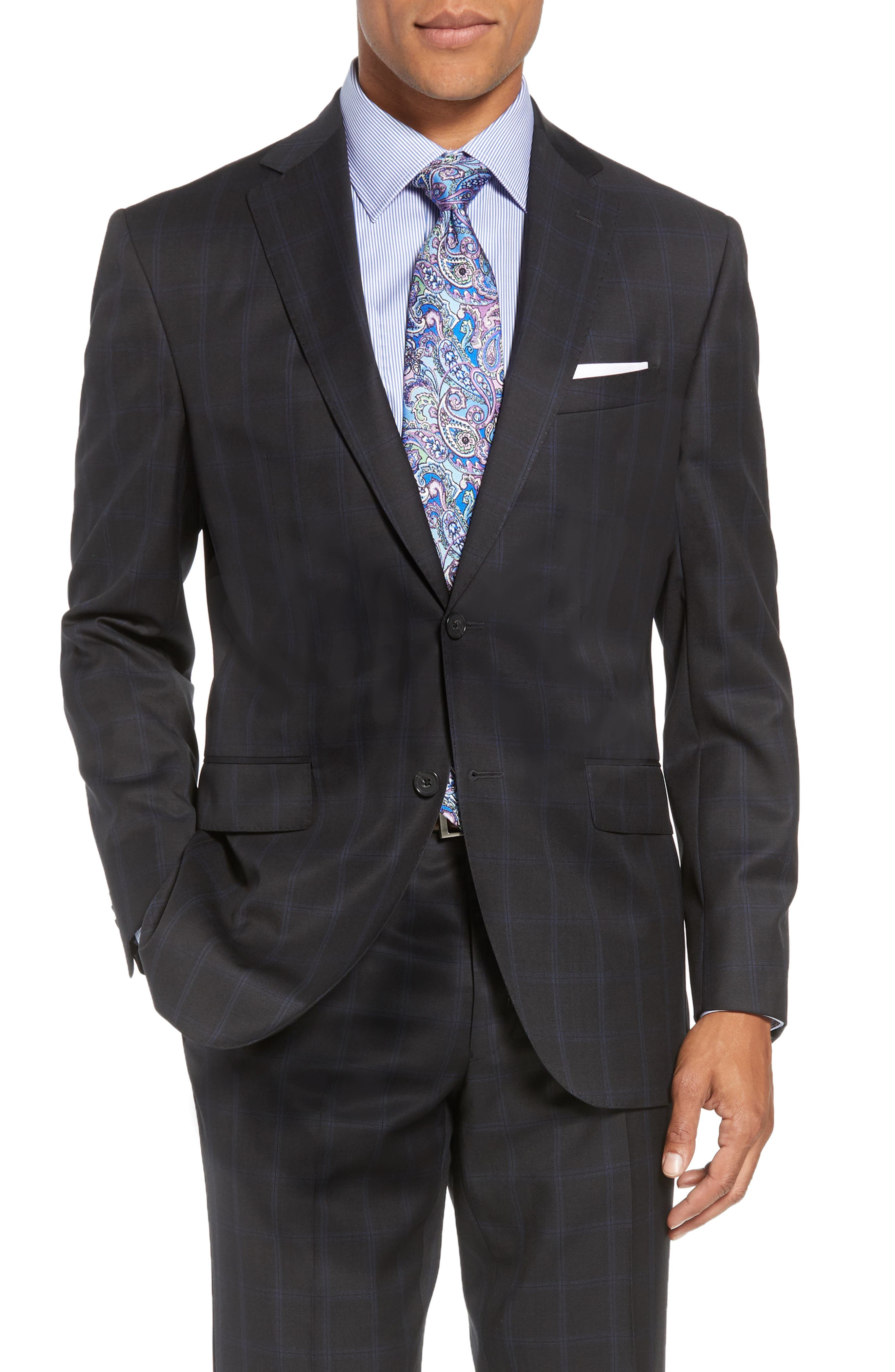 Ryan Classic Fit Windowpane Wool Suit,                             Alternate thumbnail 5, color,                             CHARCOAL