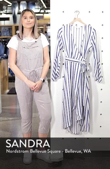 Stripe Flared Sleeve Wrap Dress, sales video thumbnail