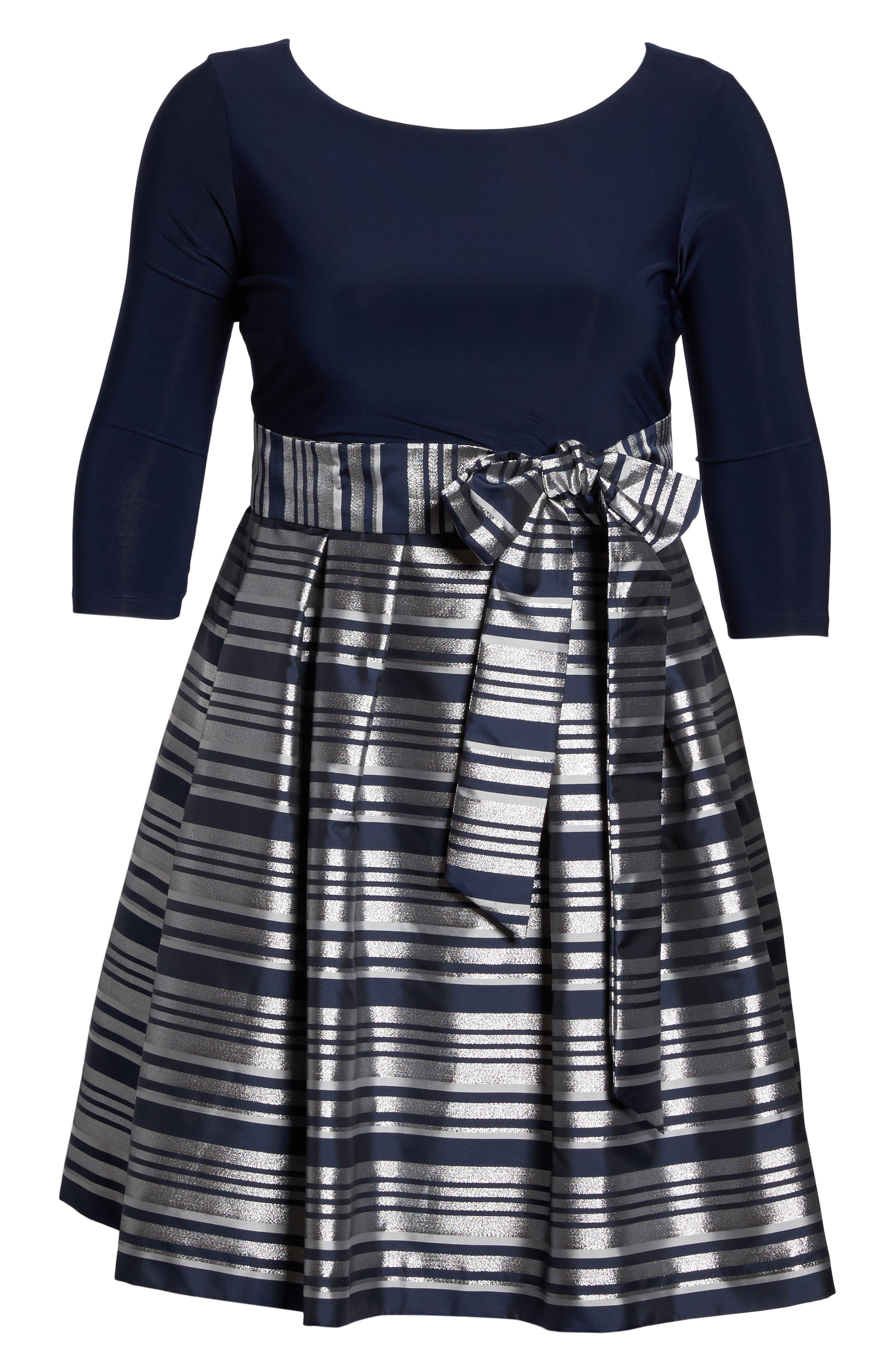 Mixed Media Tie Waist Party Dress,                             Alternate thumbnail 6, color,                             042