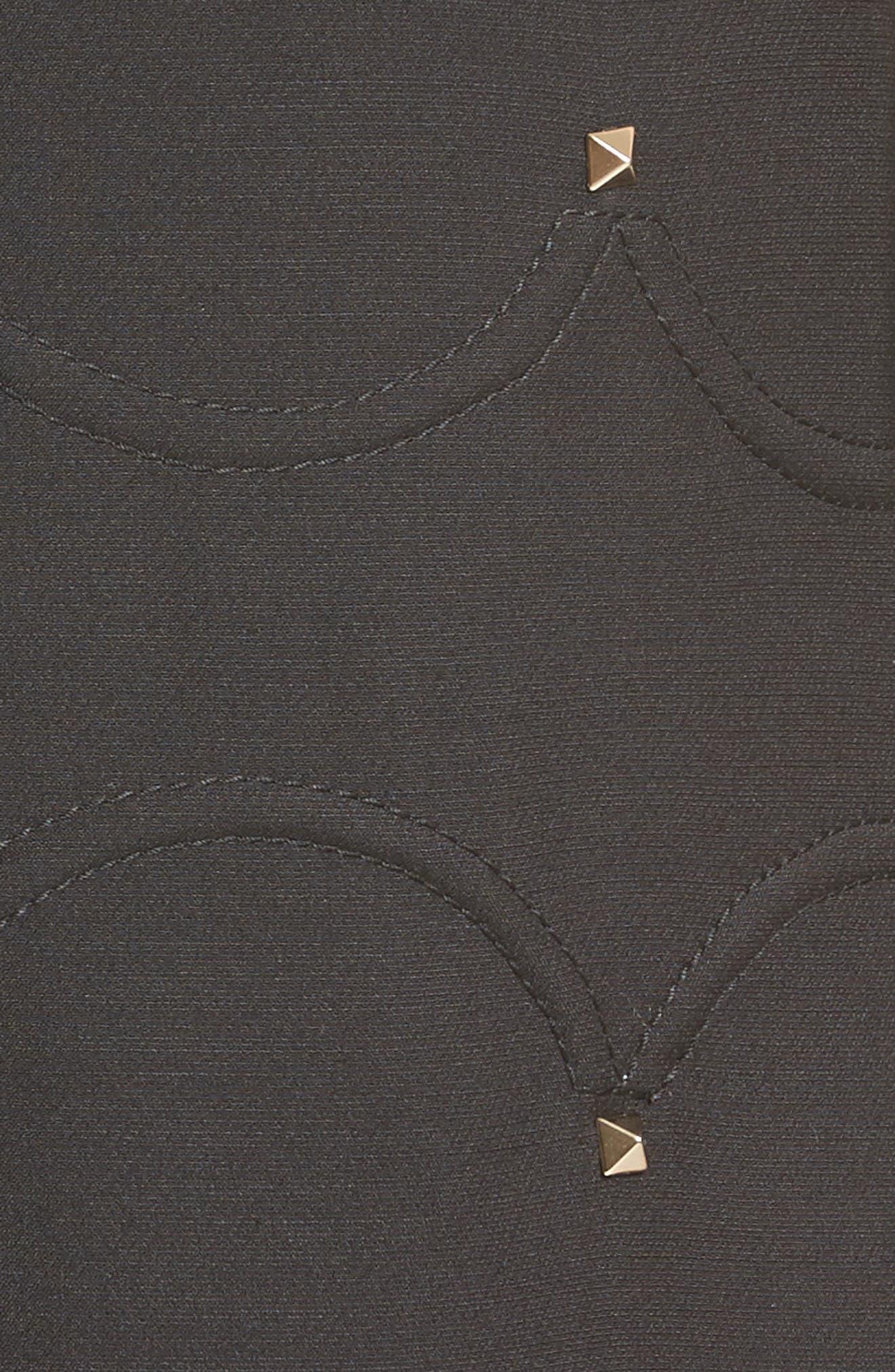 Studded Scallop Dress,                             Alternate thumbnail 6, color,                             BLACK