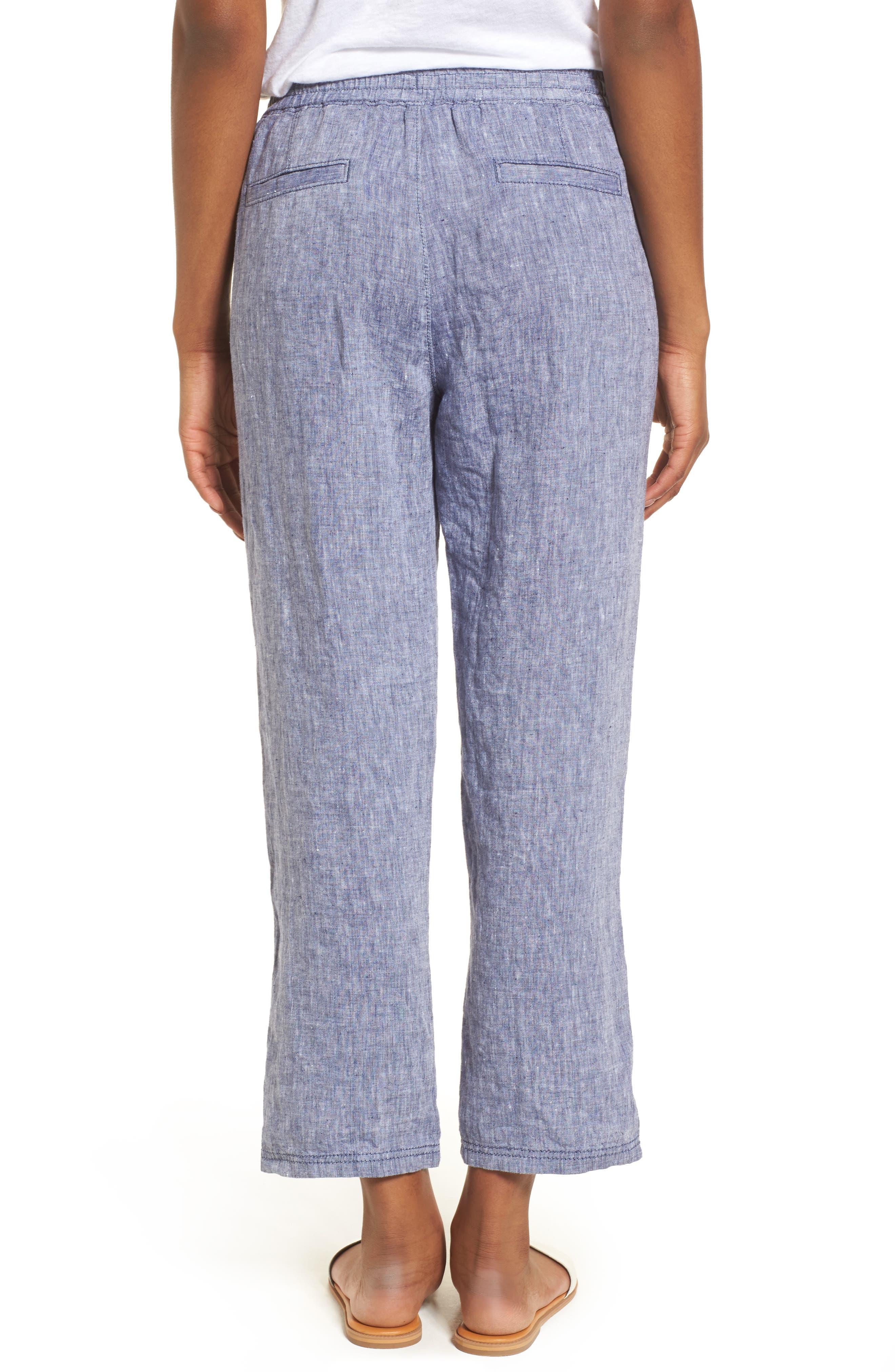 Linen Crop Pants,                             Alternate thumbnail 8, color,