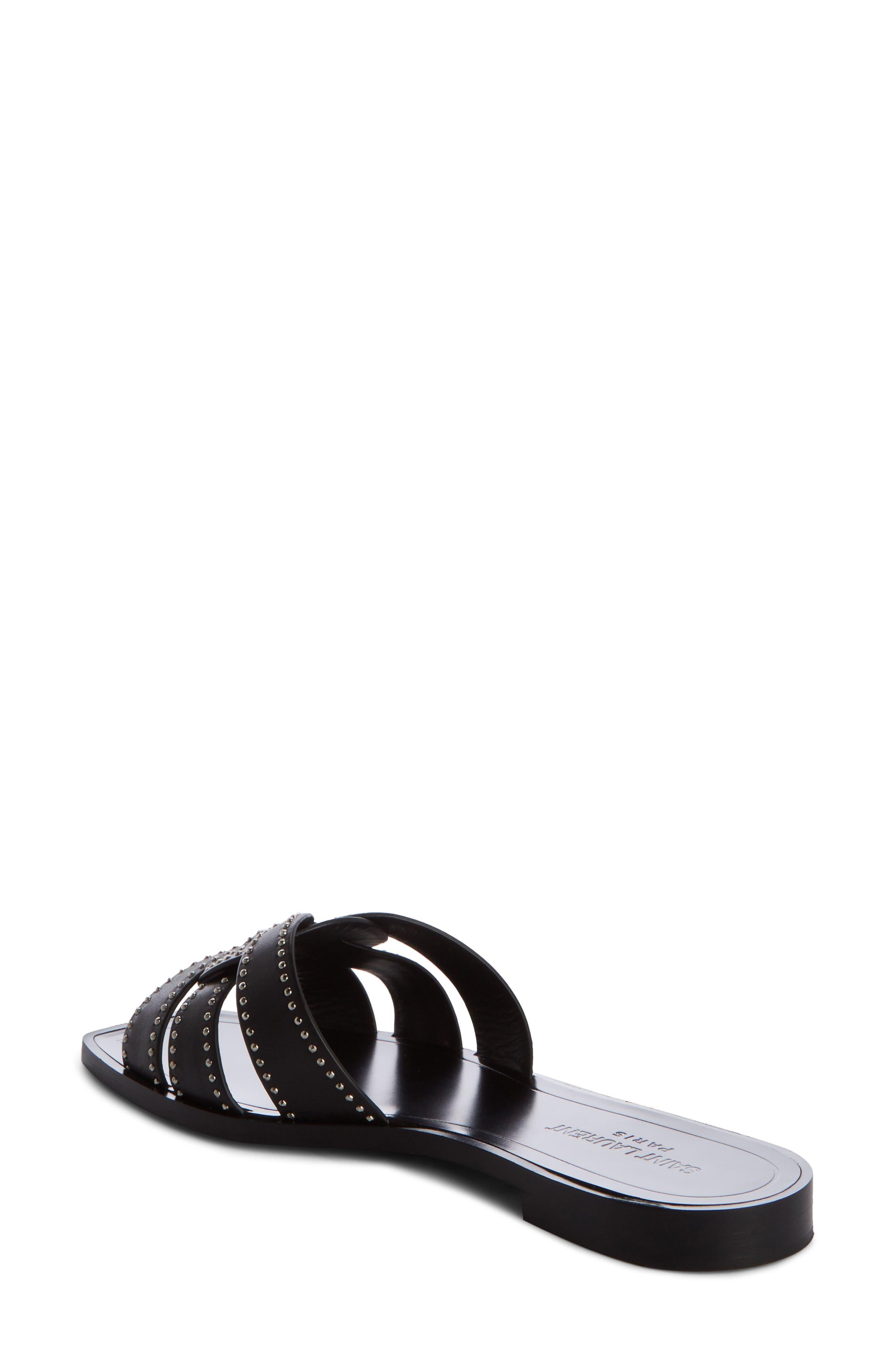 Nu Pieds Studded Slide Sandal,                             Alternate thumbnail 2, color,                             BLACK