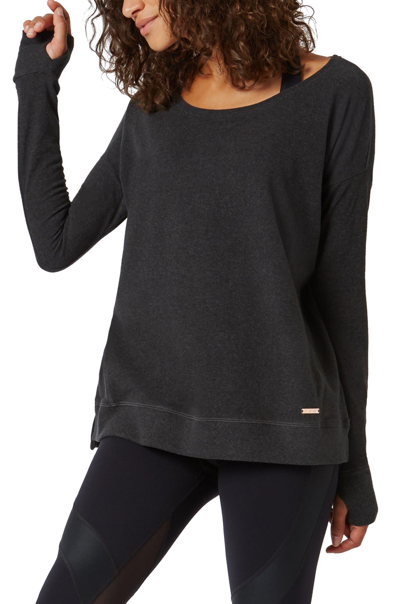 Luxe Simhasana Sweatshirt,                             Main thumbnail 1, color,                             BLACK MARL