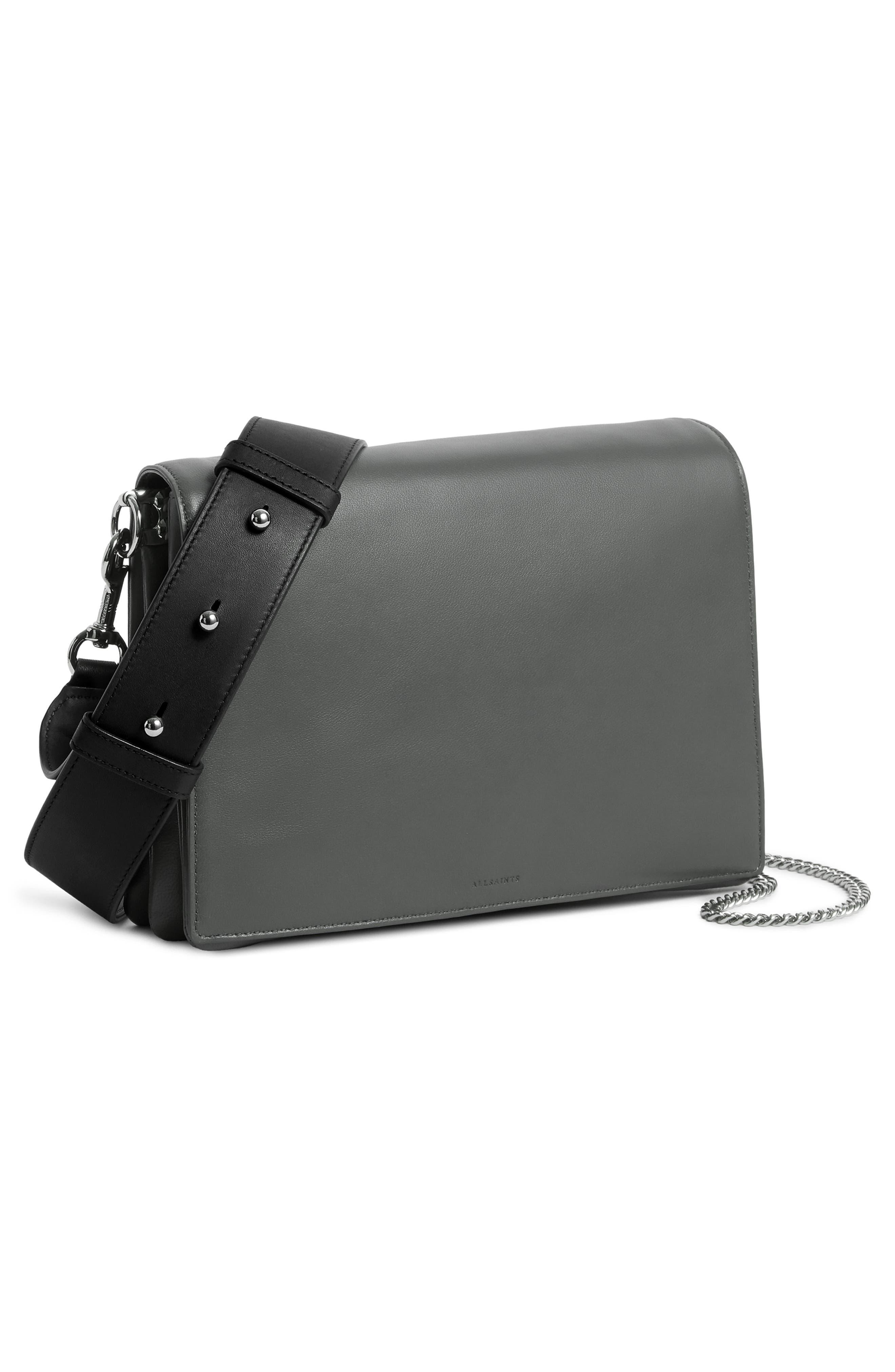 Zep Lambskin Leather Box Bag,                             Alternate thumbnail 8, color,                             SMOKY BLUE/ DARK BLUE
